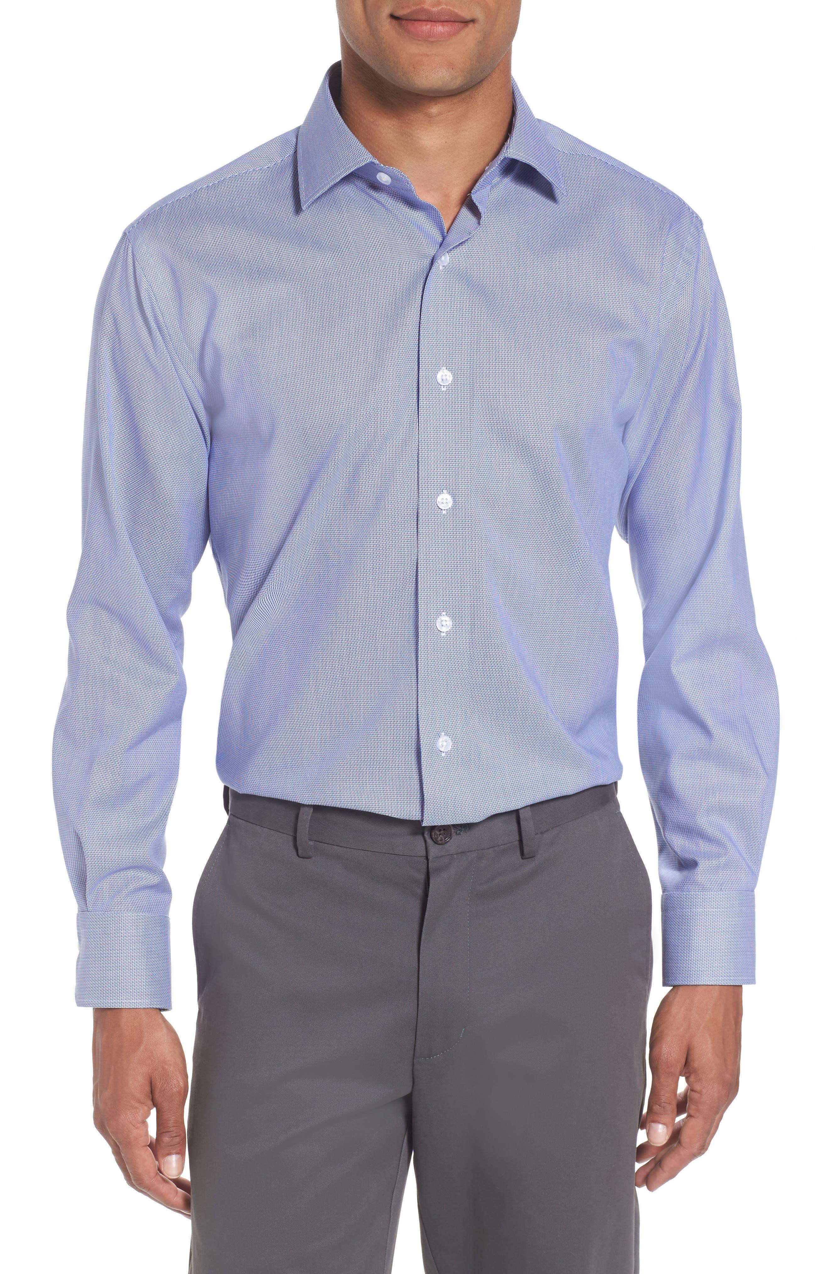 Trim Fit Solid Dress Shirt,                             Main thumbnail 1, color,                             Navy