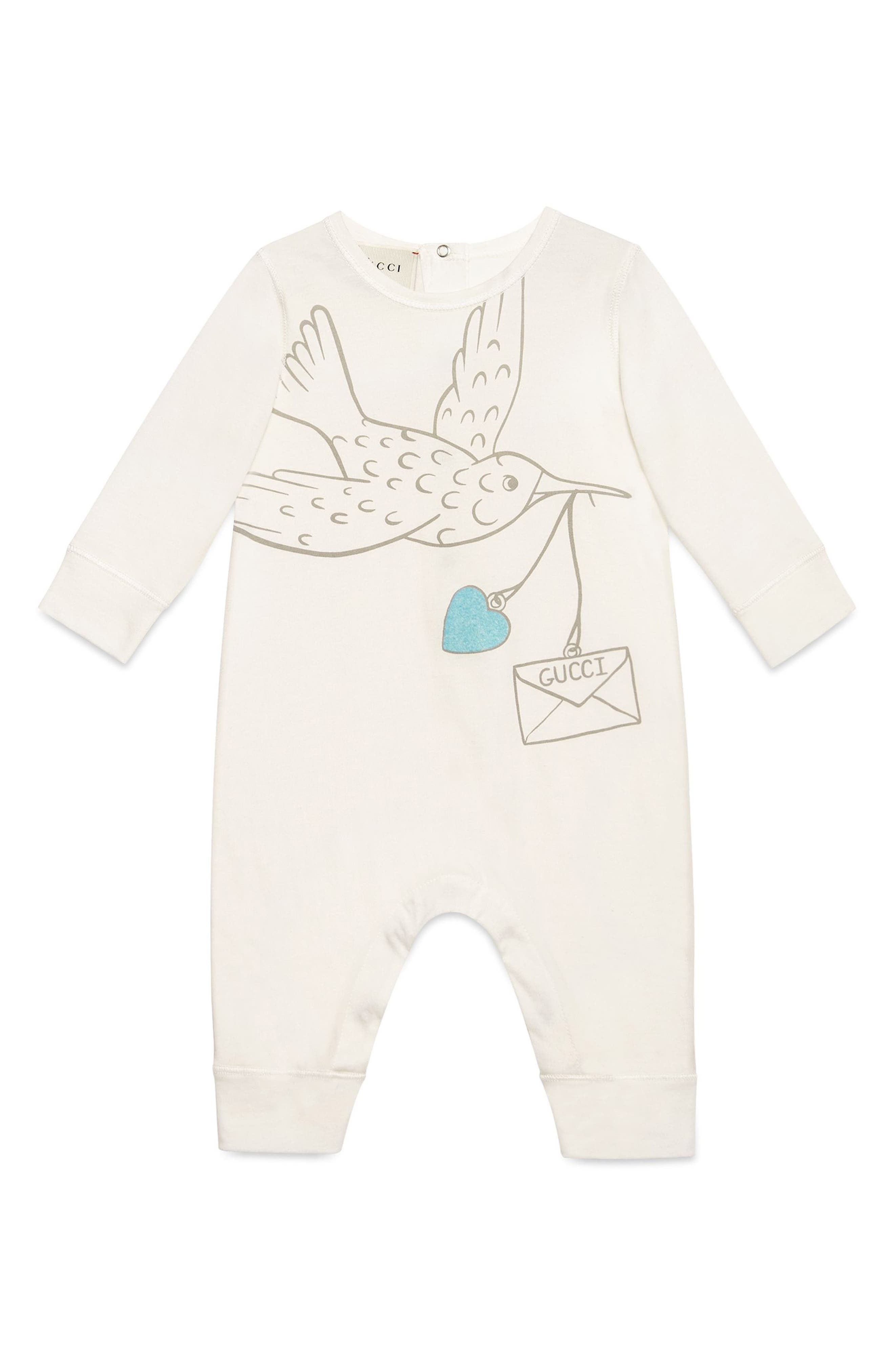 Alternate Image 1 Selected - Gucci Dove Graphic Cotton Romper (Baby Girls)