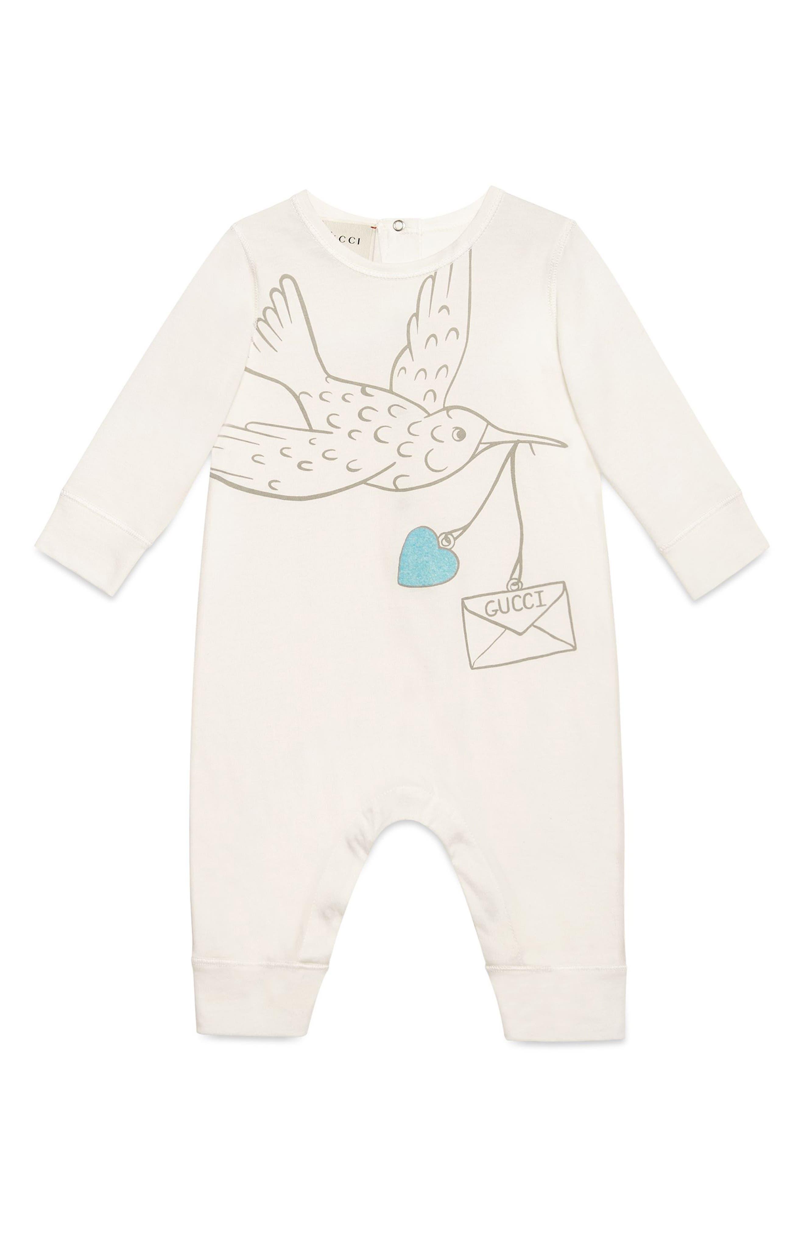 Main Image - Gucci Dove Graphic Cotton Romper (Baby Girls)