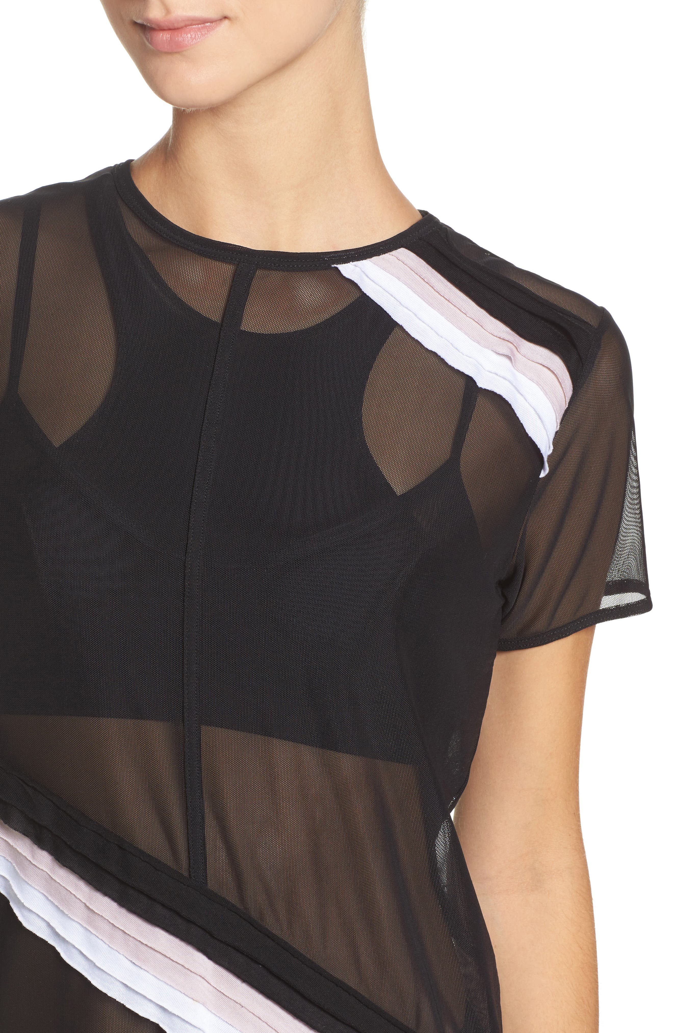Cross Cut Mesh Tee,                             Alternate thumbnail 4, color,                             Black