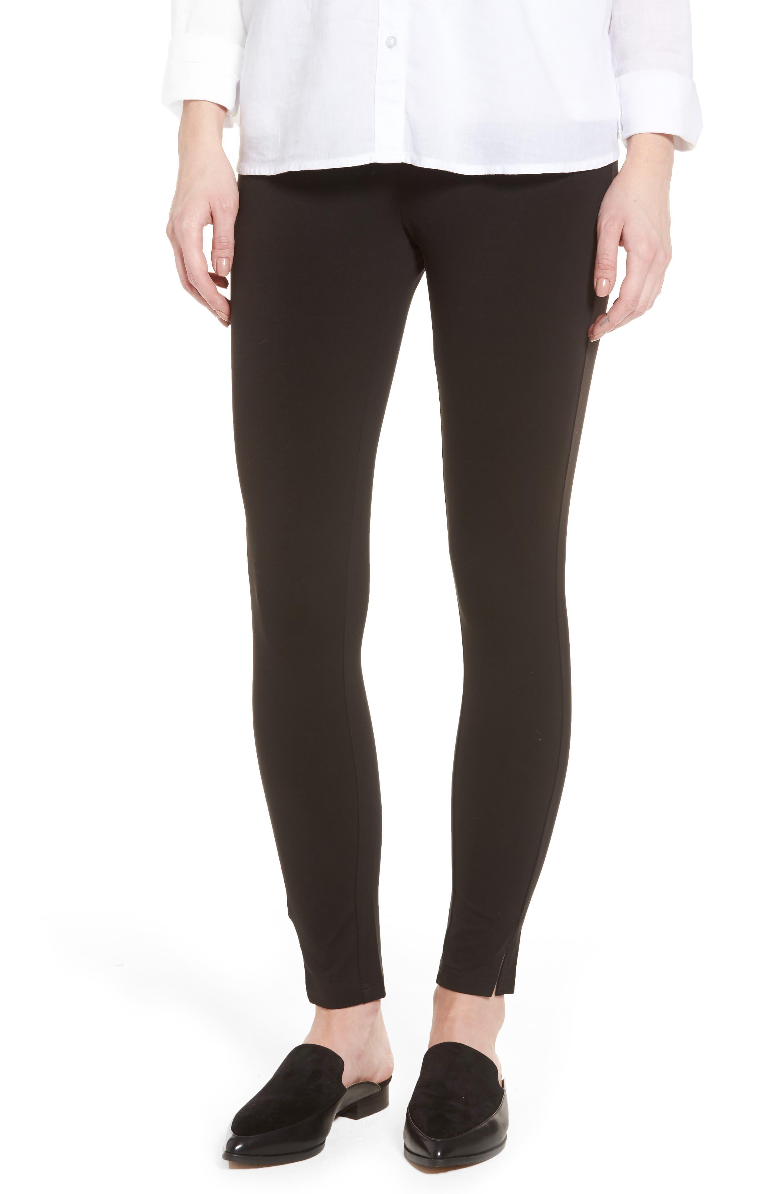Mercerized Cotton Blend Leggings,                             Main thumbnail 1, color,                             Black