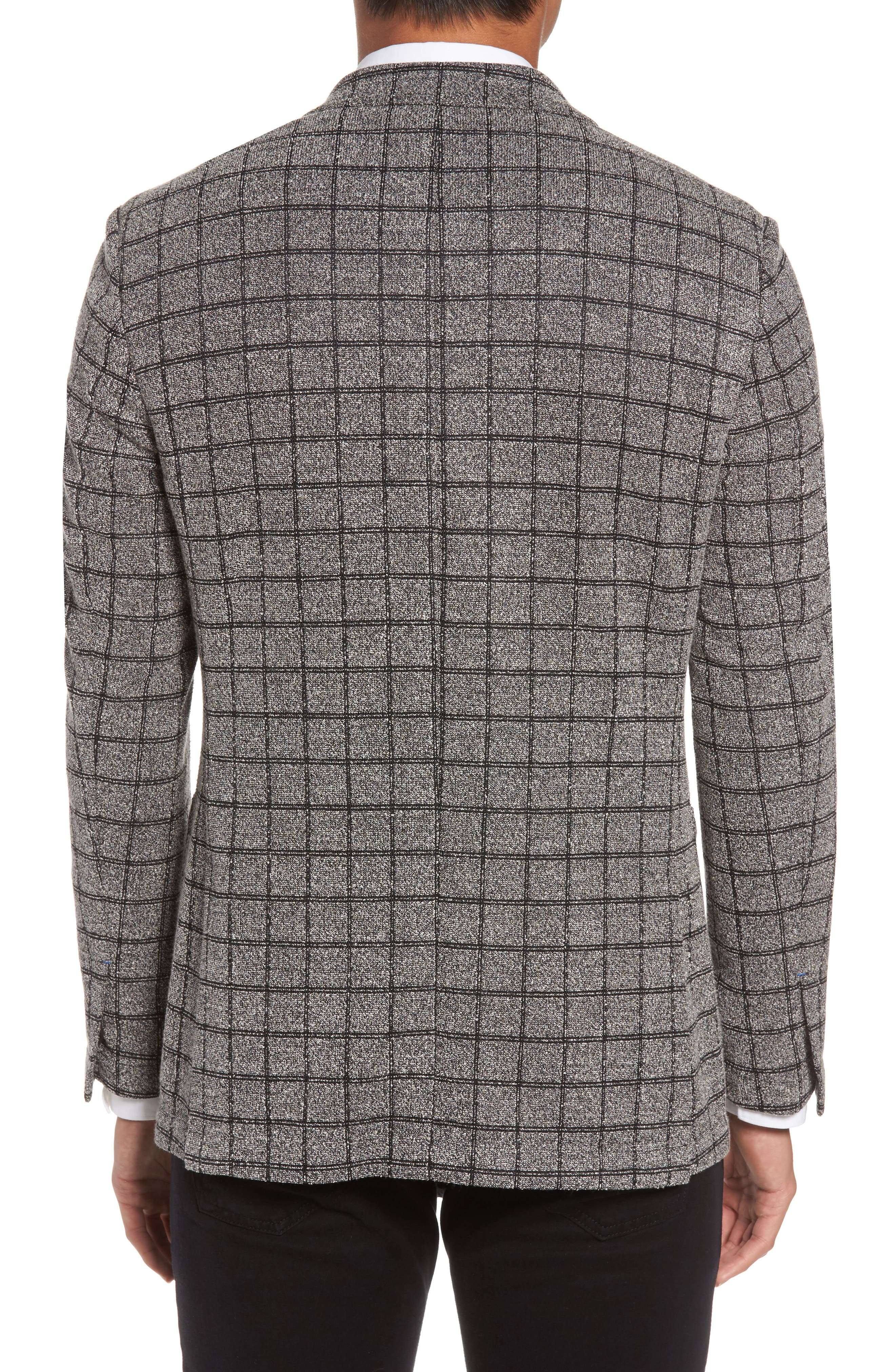 Del Aria Slim Fit Check Knit Jacket,                             Alternate thumbnail 2, color,                             Charcoal Windowpane Boucle