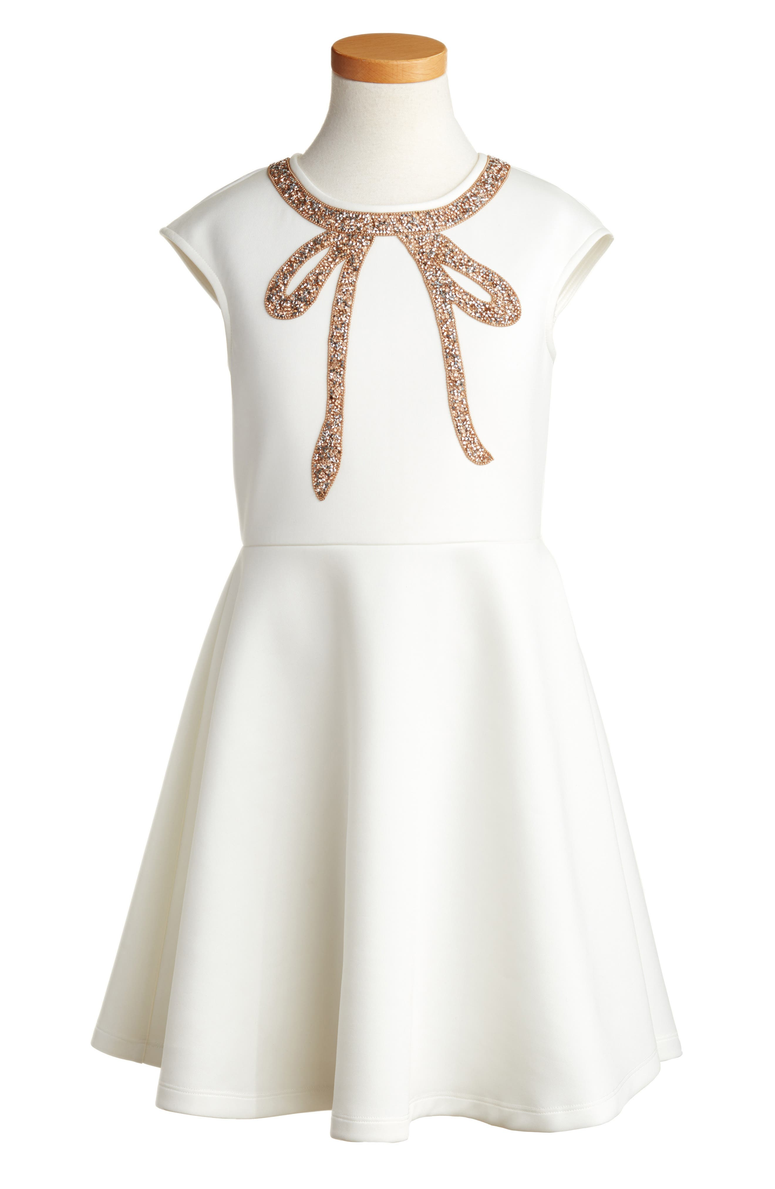 Cap Sleeve Bow Dress,                             Main thumbnail 1, color,                             White/ Gold