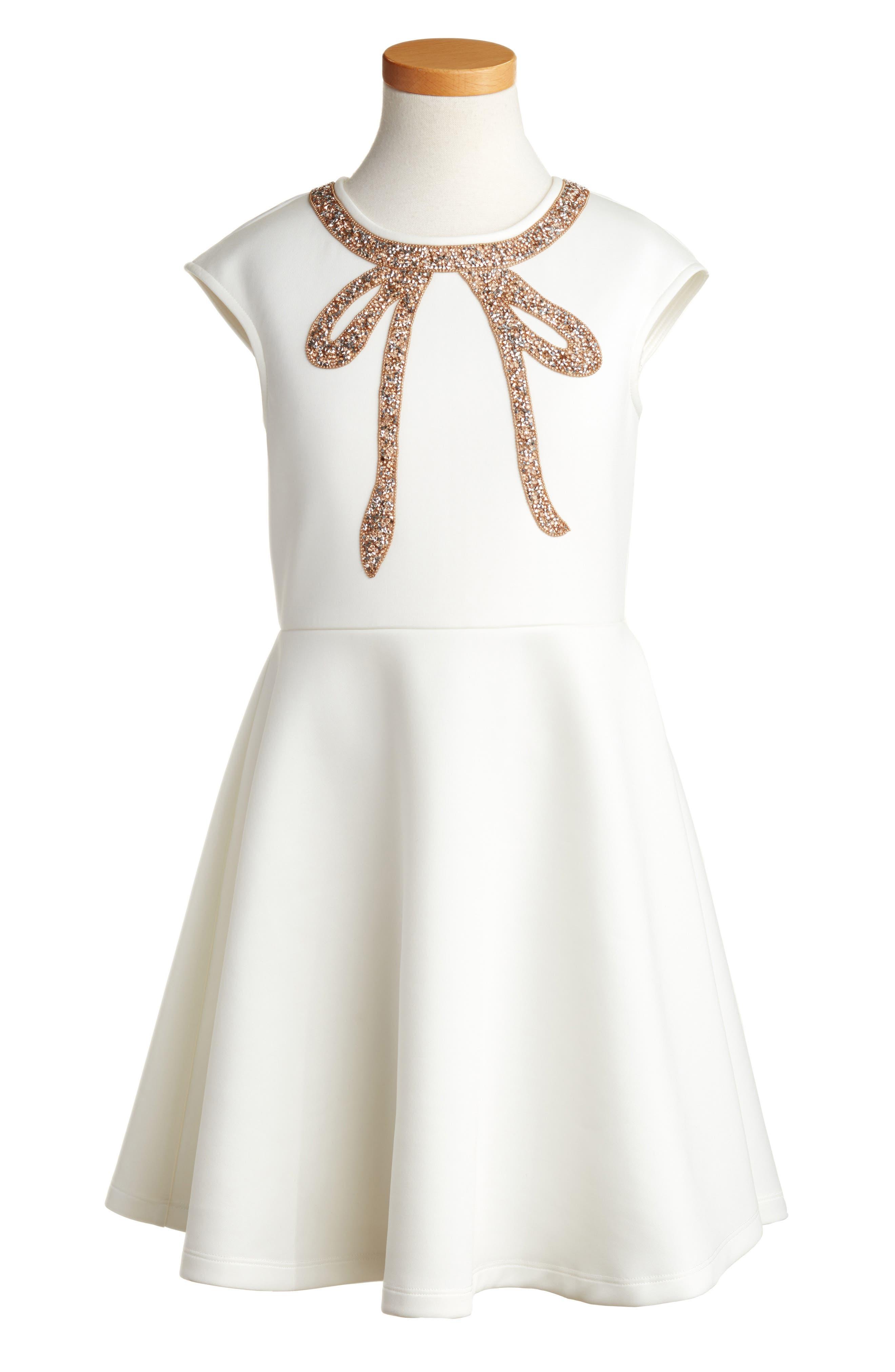 Alternate Image 1 Selected - Hannah Banana Cap Sleeve Bow Dress (Big Girls)