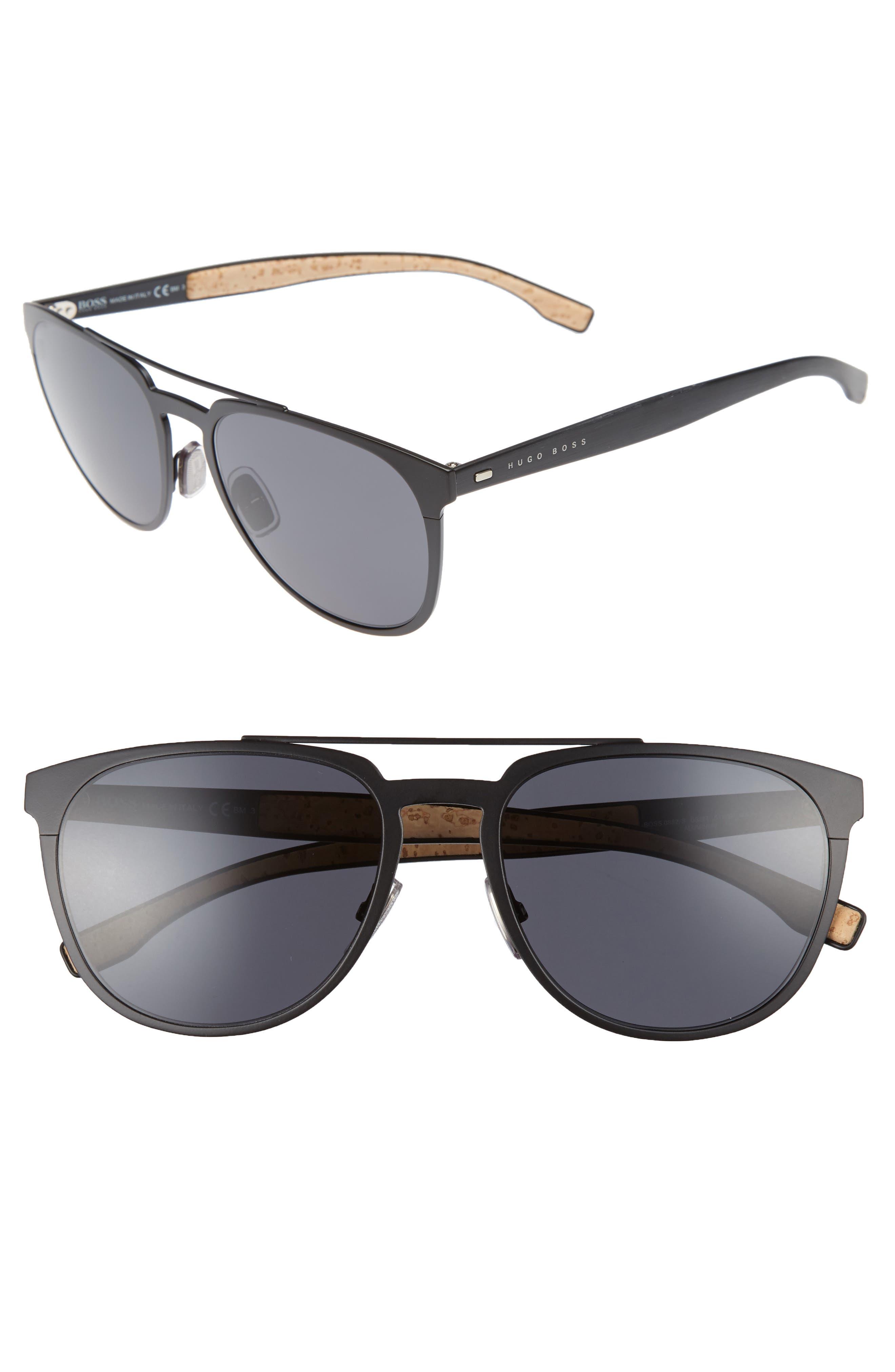 57mm Navigator Sunglasses,                             Main thumbnail 1, color,                             Matte Black/ Grey Blue