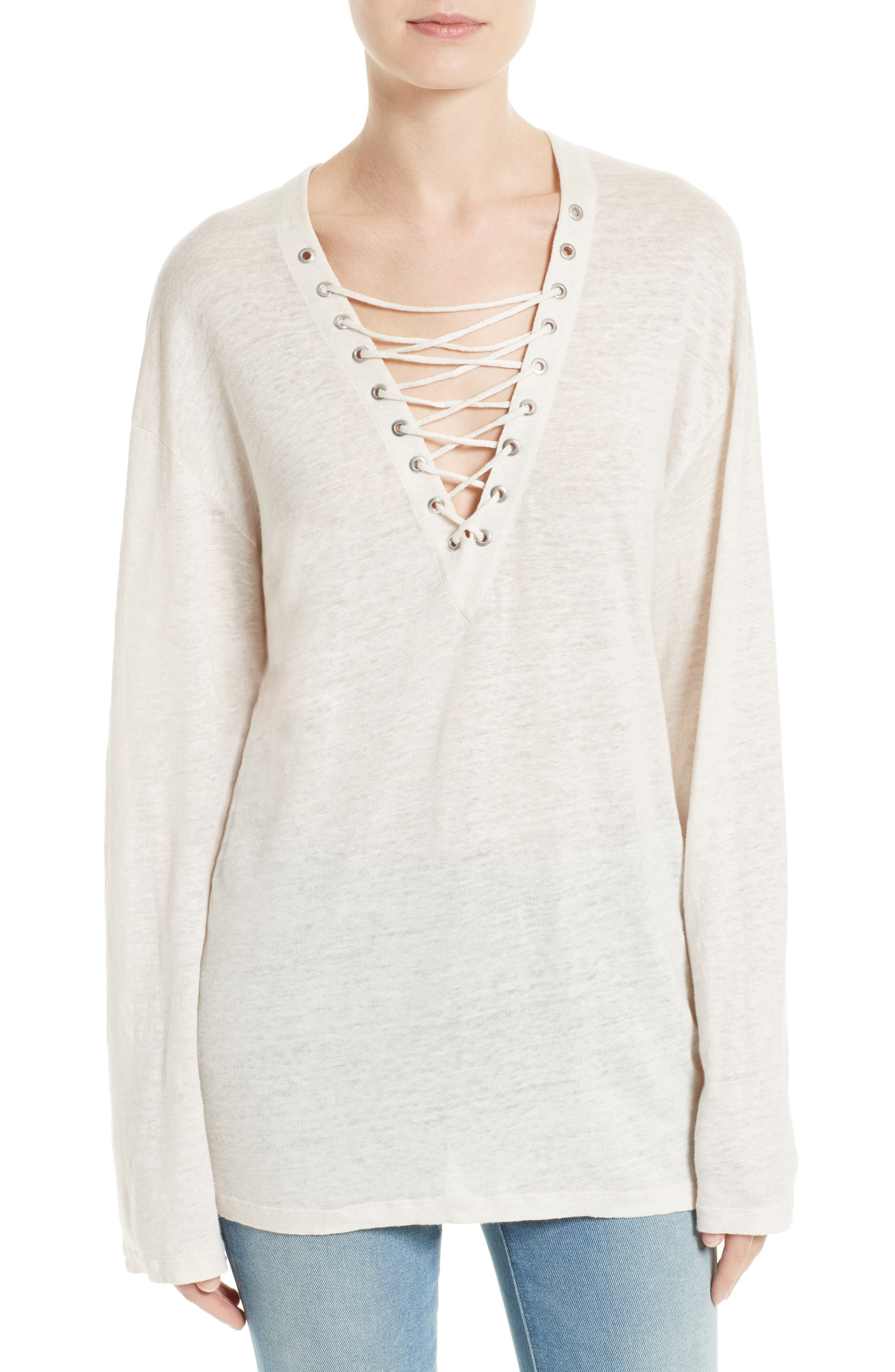 Alety Lace-Up Linen Top,                             Main thumbnail 1, color,                             Ivory