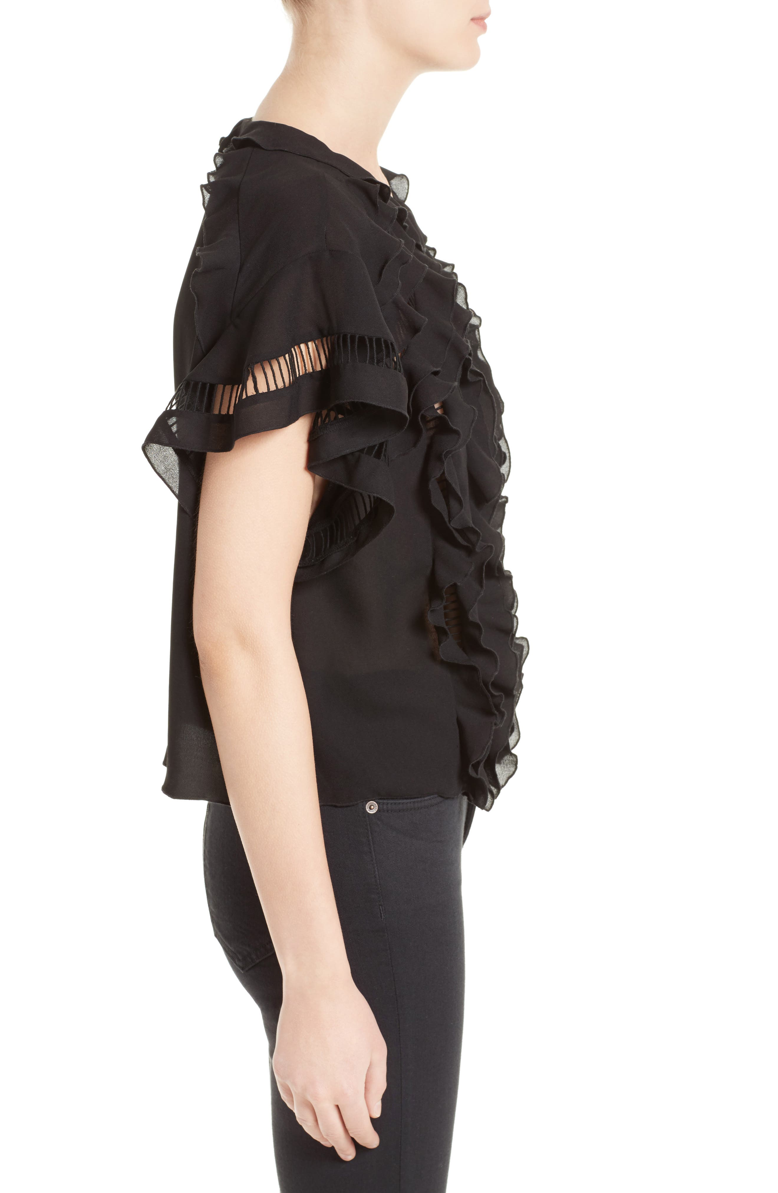 Lauder Ruffle Top,                             Alternate thumbnail 3, color,                             Black