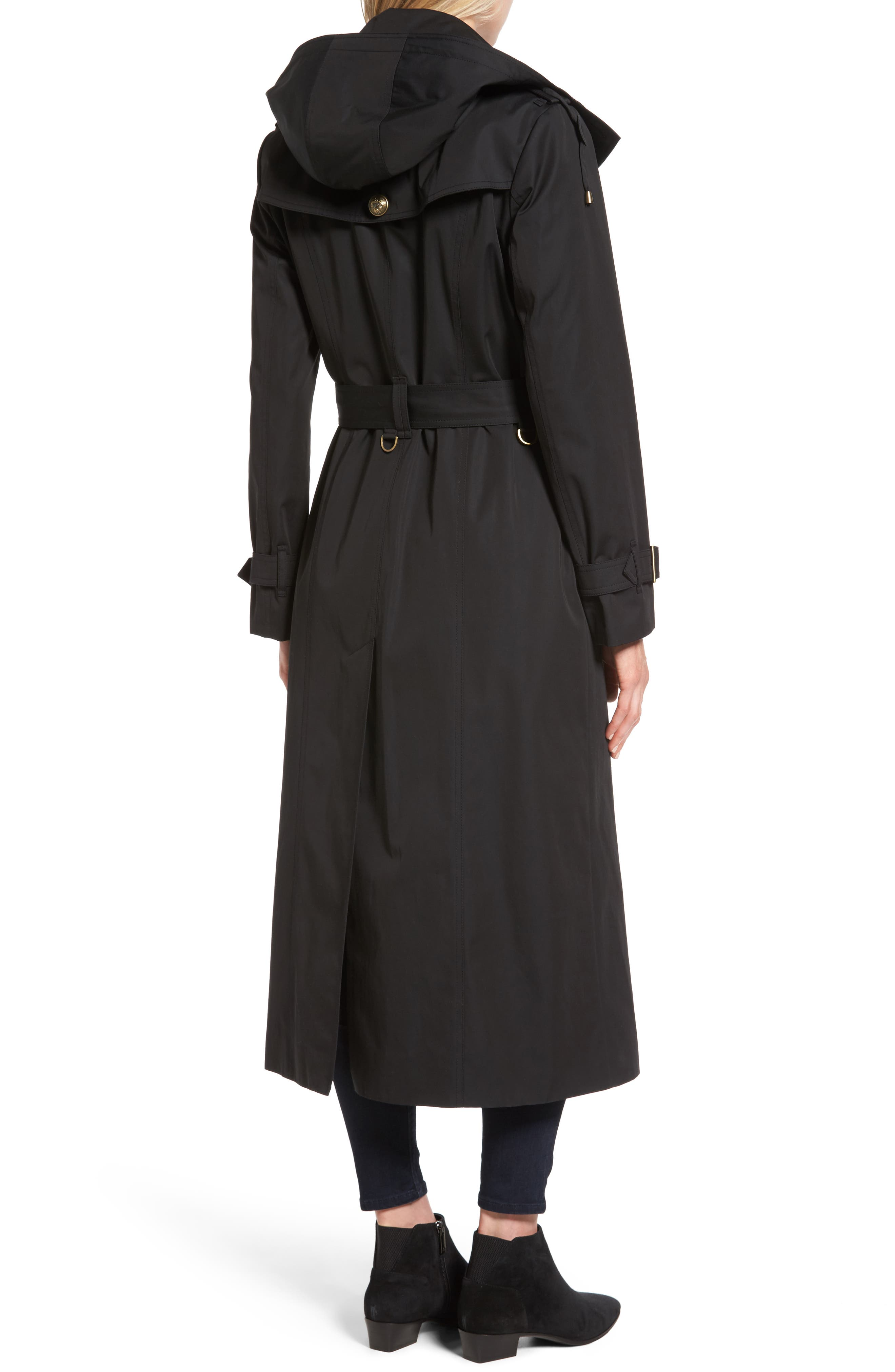 Hooded Single Breasted Long Trench Coat,                             Alternate thumbnail 2, color,                             Black
