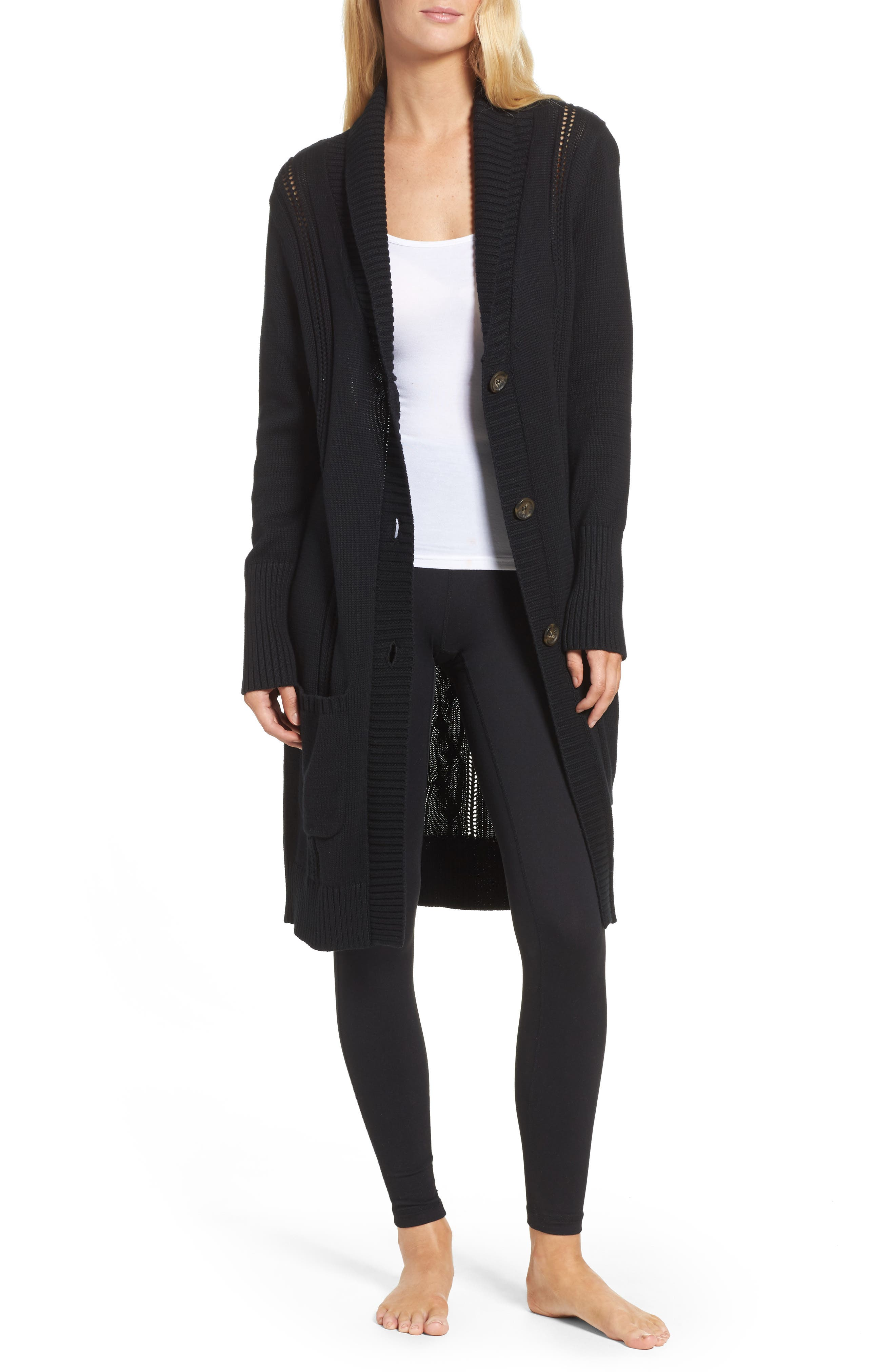Hayley Long Cardigan,                             Main thumbnail 1, color,                             Black
