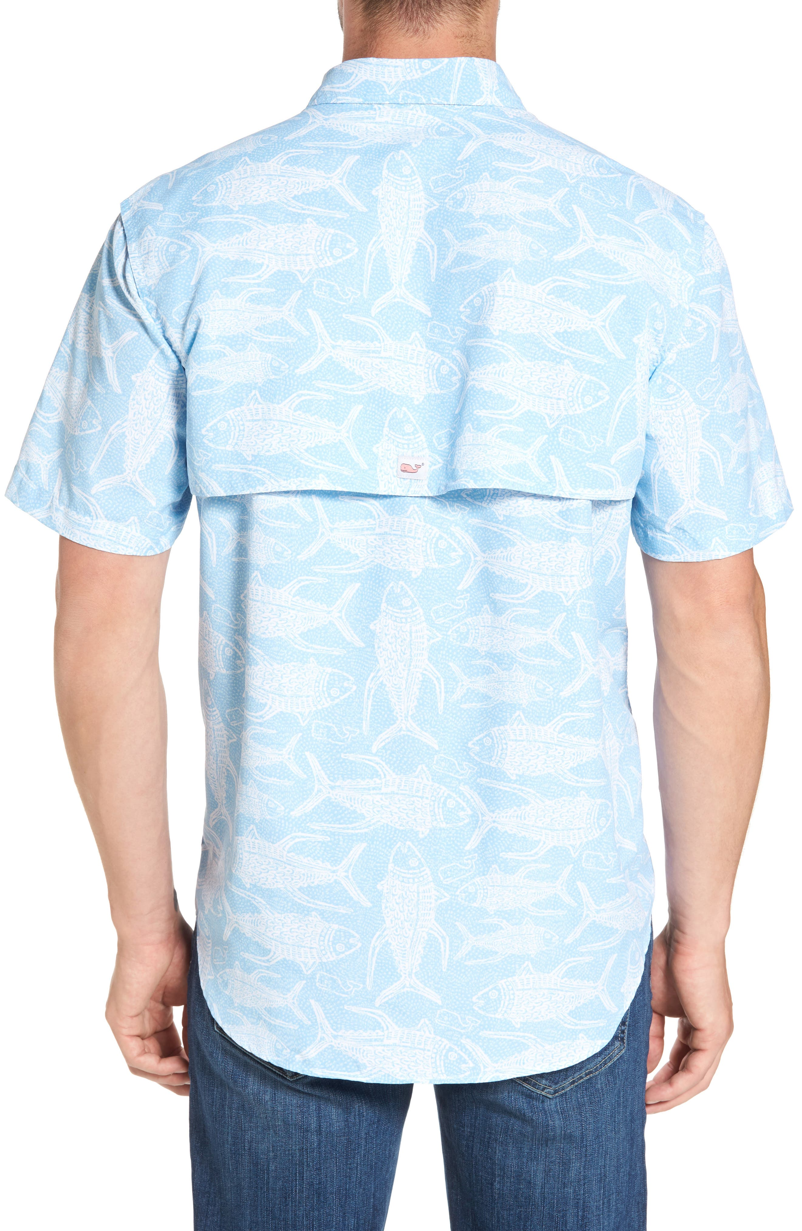 Alternate Image 2  - Vineyard Vines Tuna Batic Harbor Short Sleeve Sport Shirt