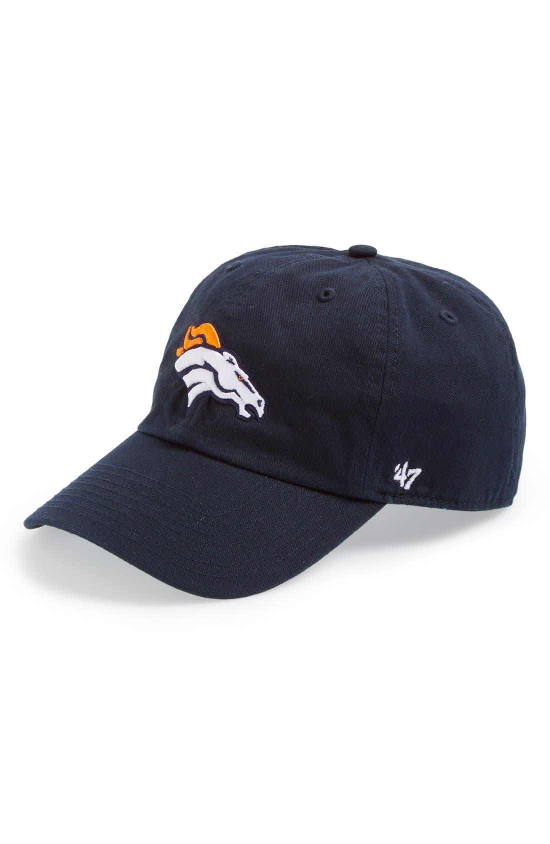 'Denver Broncos - Clean Up' Cap,                         Main,                         color, Navy
