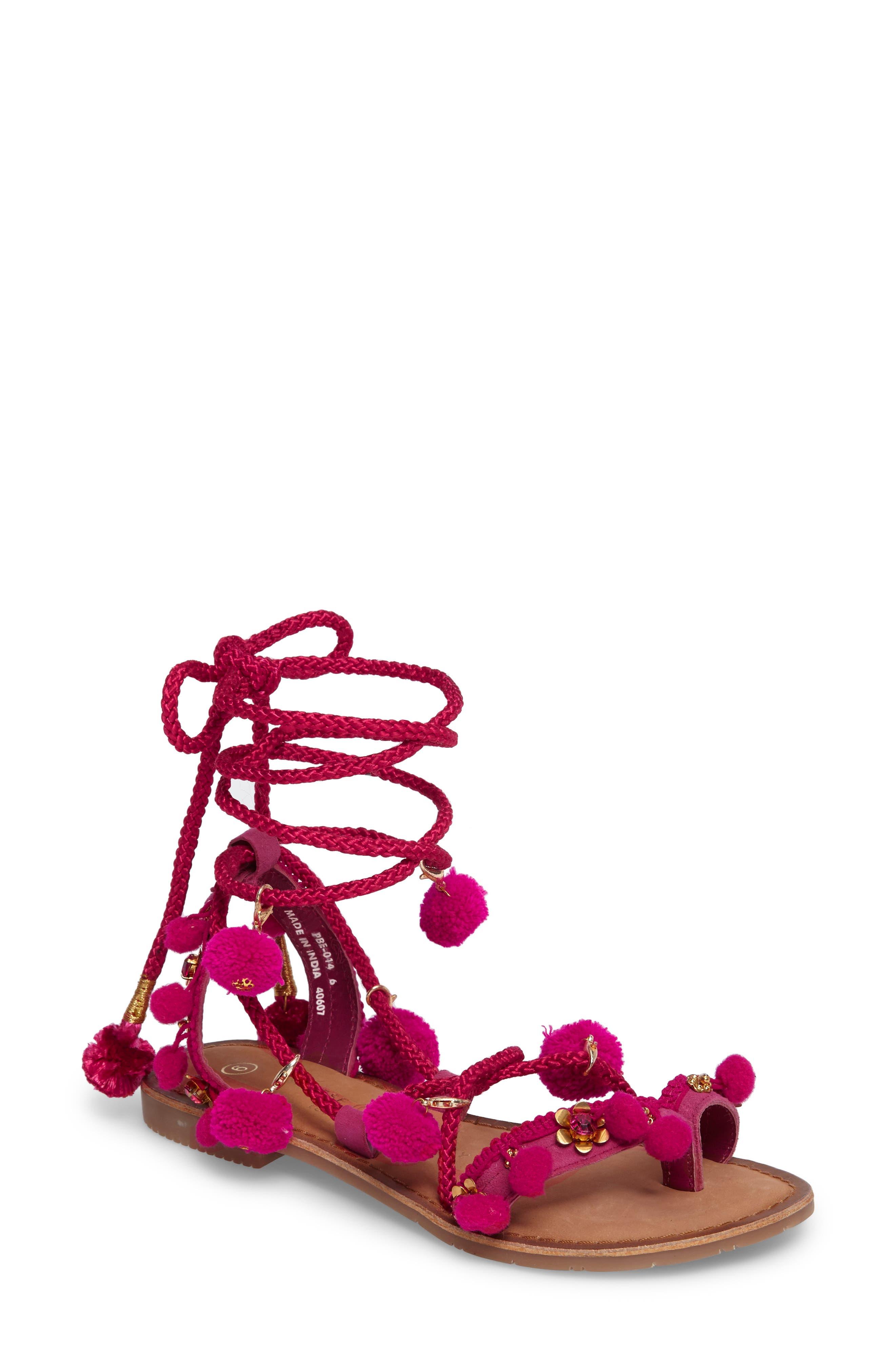 CHINESE LAUNDRY Portia Pom Embellished Wraparound Sandal