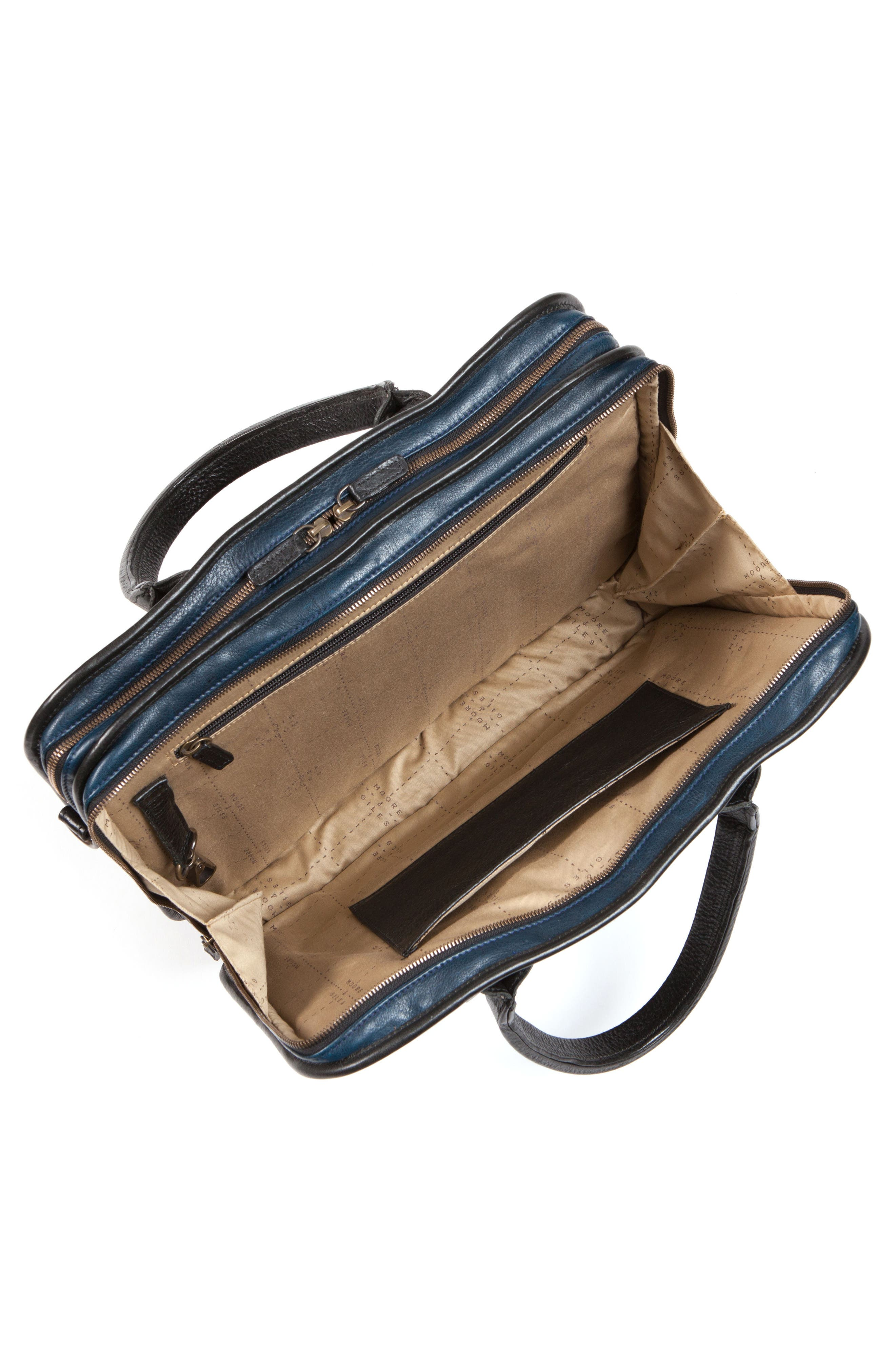 Miller Leather Briefcase,                             Alternate thumbnail 5, color,                             Titan Milled Navy And Gunmetal