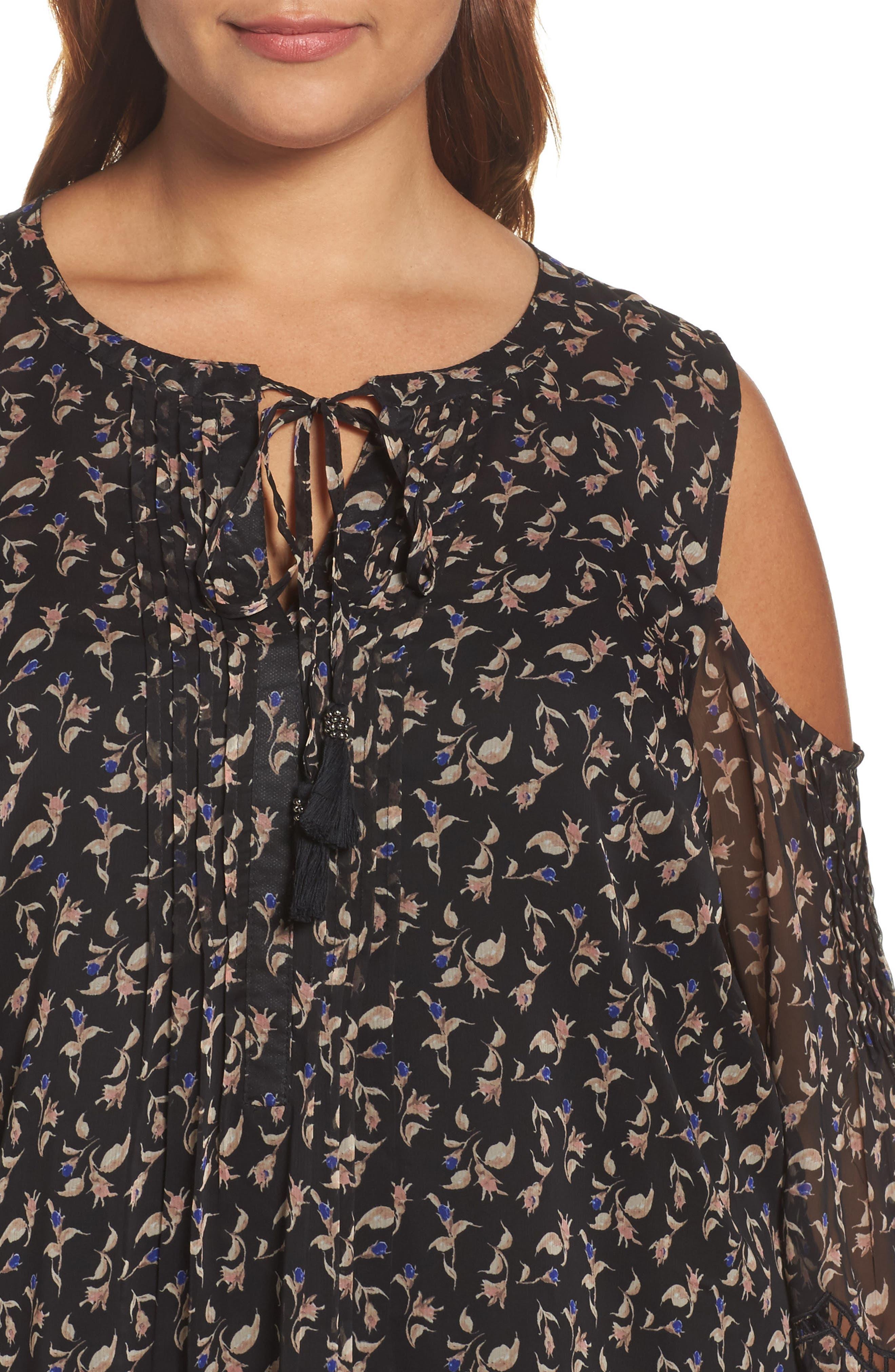 Alternate Image 4  - Daniel Rainn Print Cold Shoulder Keyhole Blouse (Plus Size)