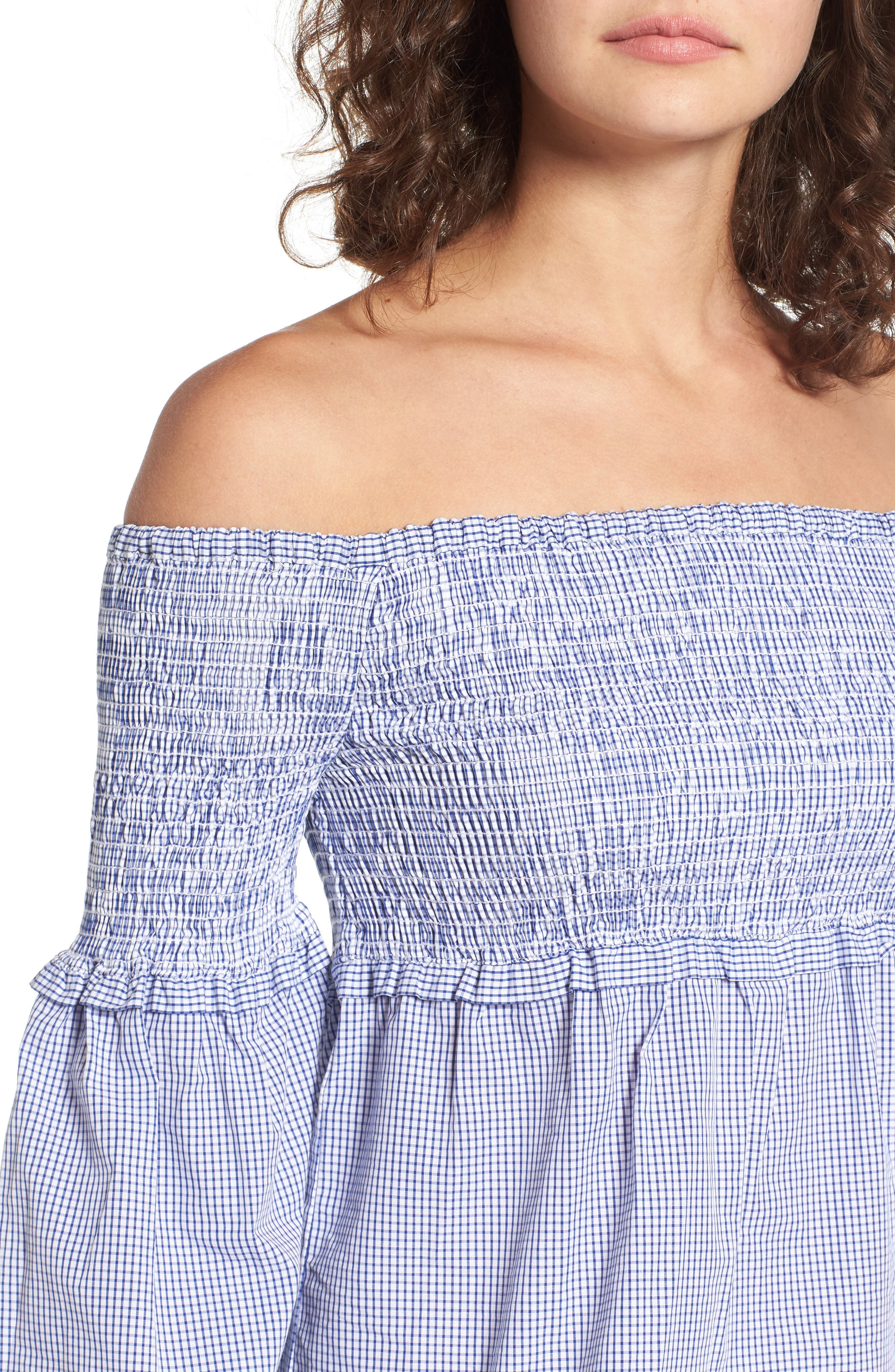 Libby Smocked Off the Shoulder Top,                             Alternate thumbnail 4, color,                             Blue Checker