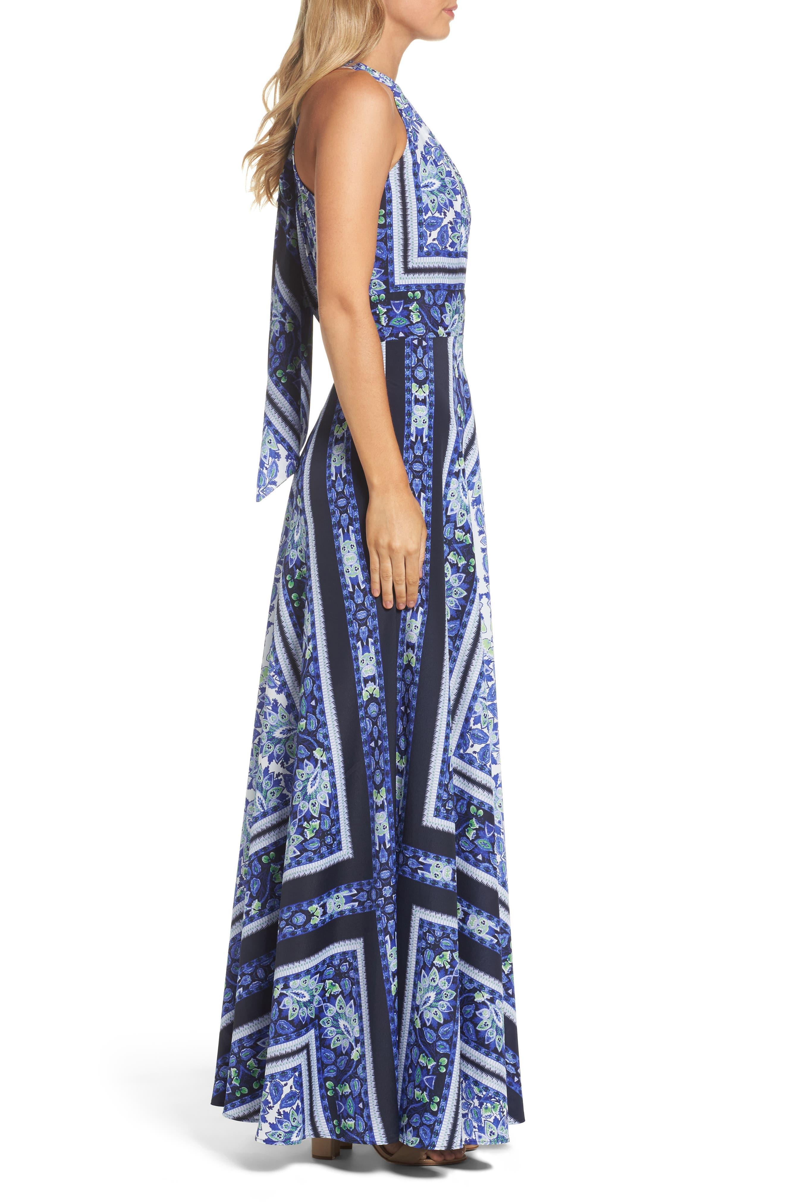 Scarf Print Maxi Dress,                             Alternate thumbnail 3, color,                             Navy/ Purple