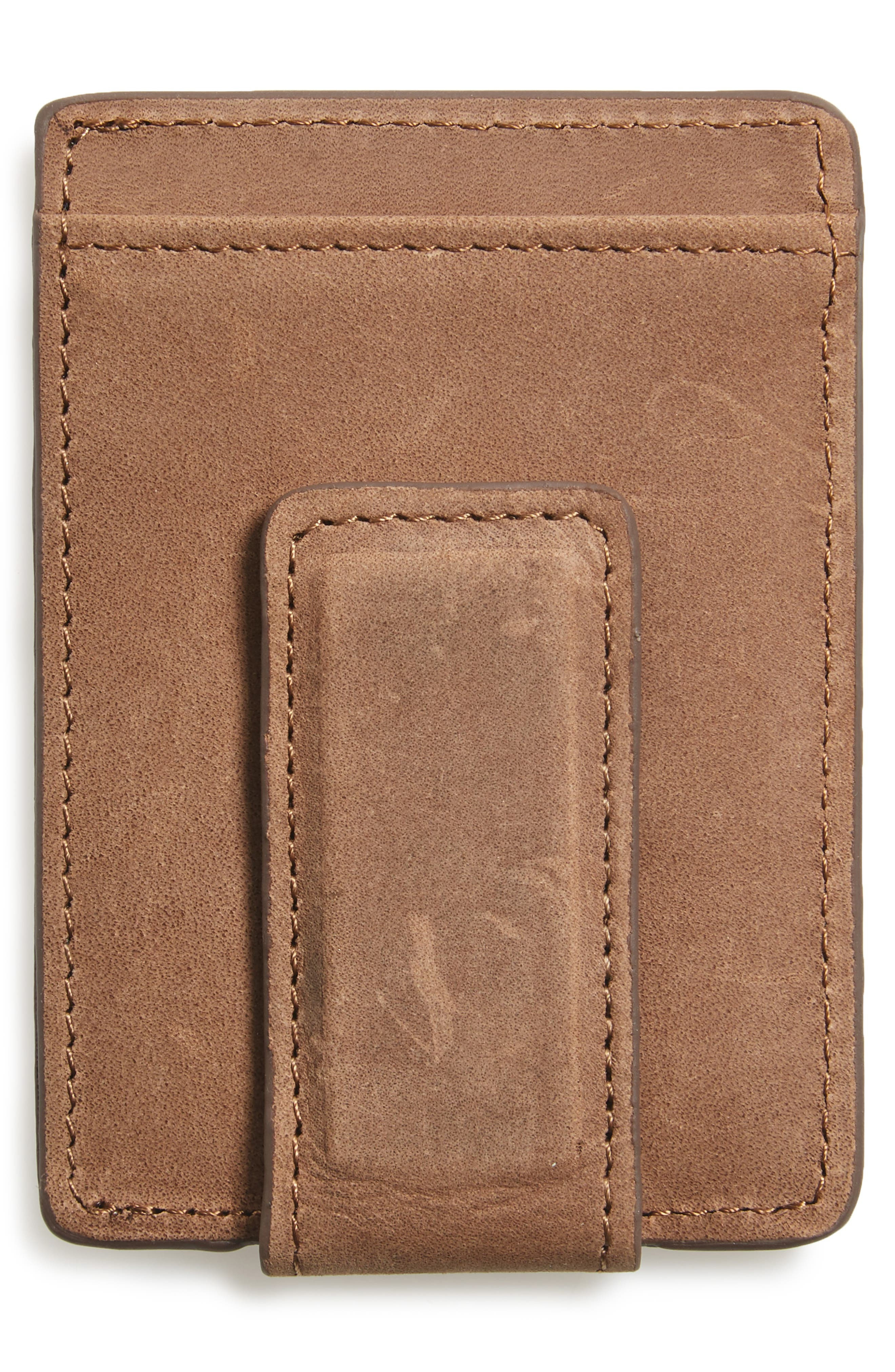 Upton Leather Money Clip Card Case,                             Alternate thumbnail 2, color,                             Brown Earth