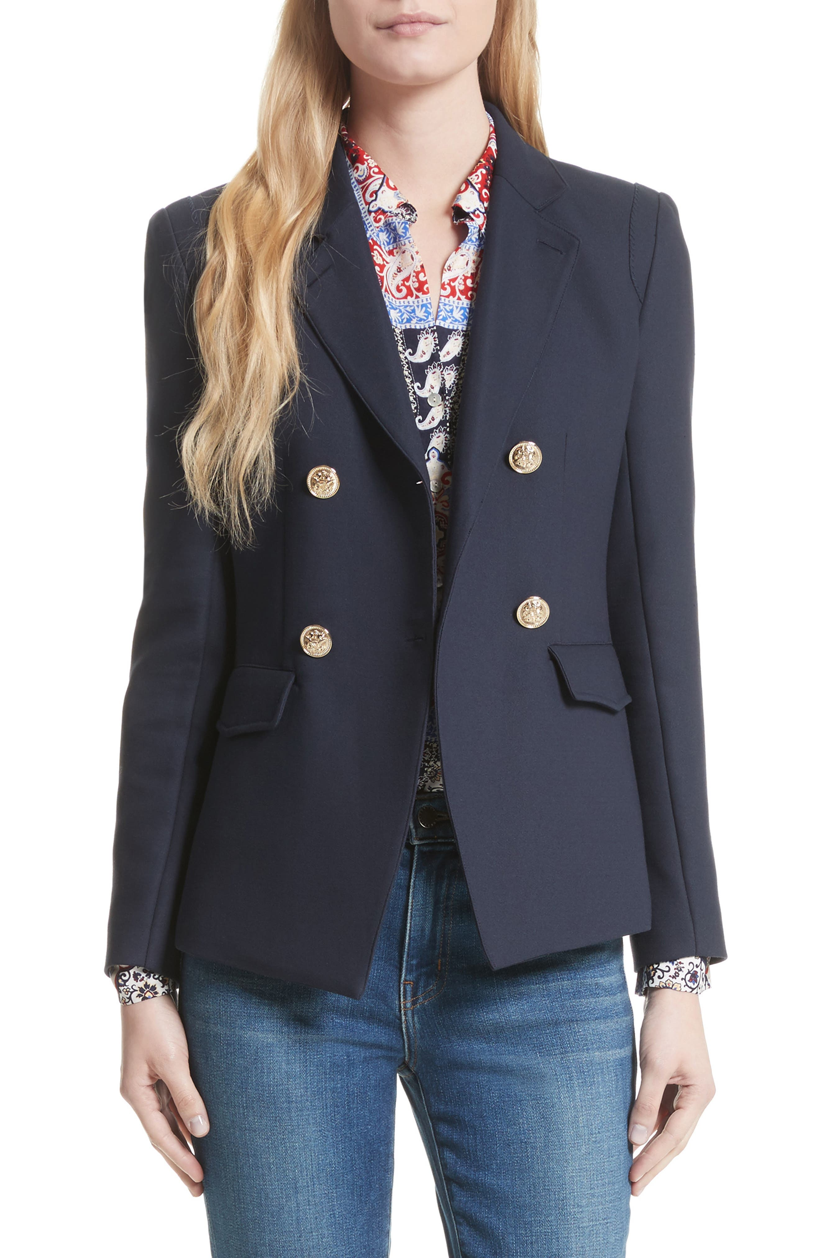 The Marc Double Breasted Blazer,                         Main,                         color, Navy
