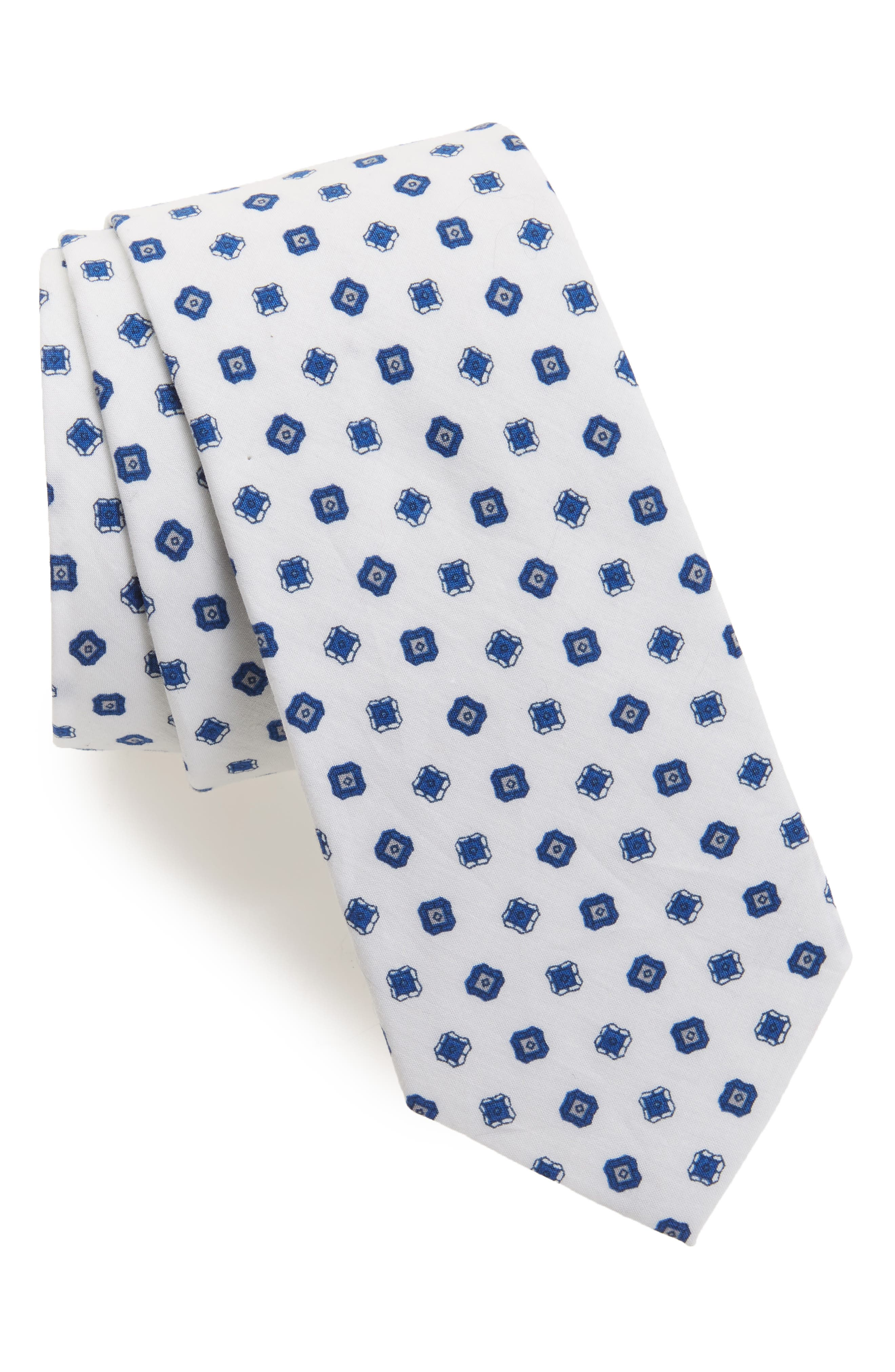 Medallion Cotton Tie,                         Main,                         color, White
