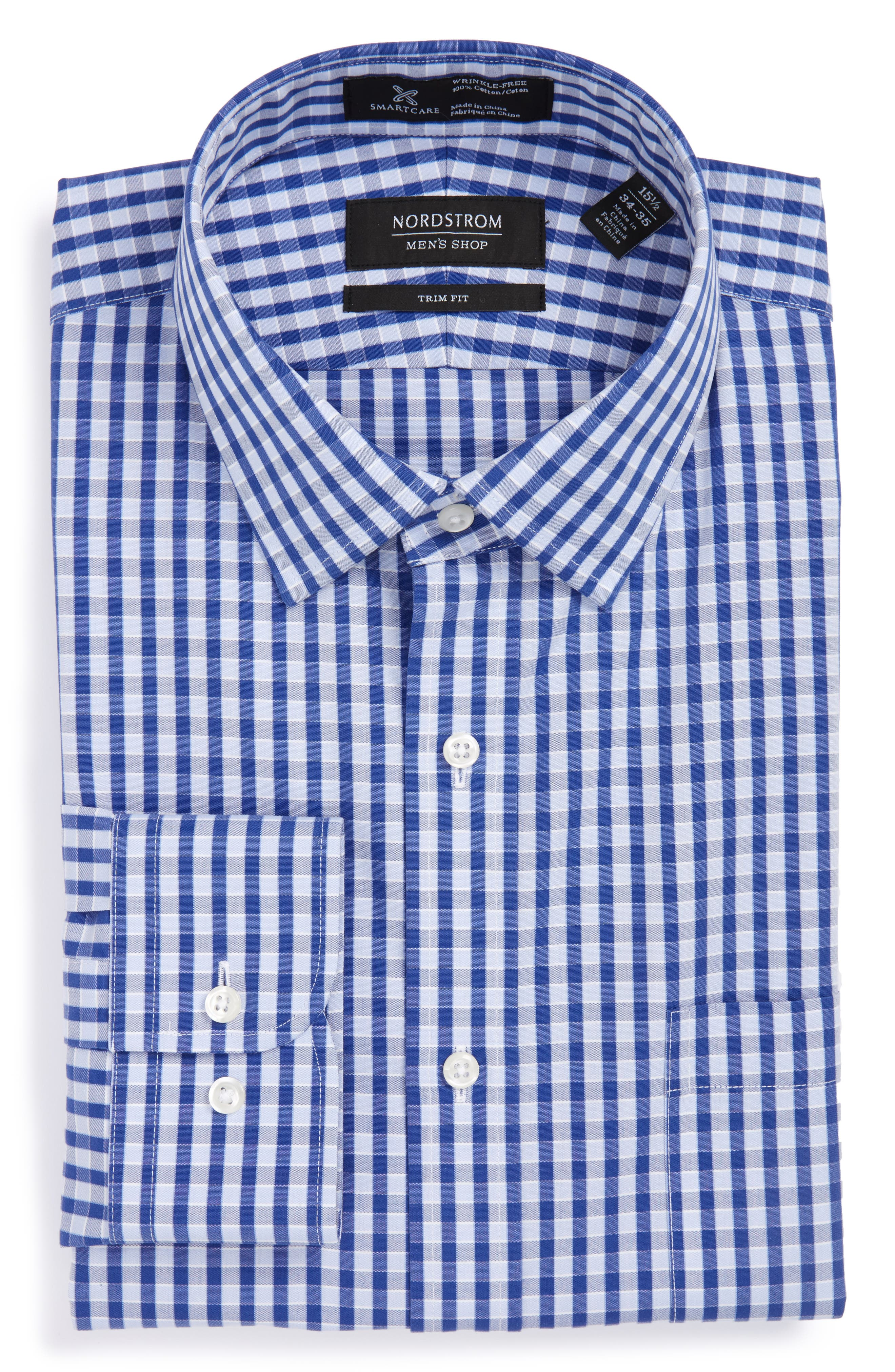 Smartcare<sup>™</sup> Trim Fit Check Dress Shirt,                         Main,                         color, Blue Marine