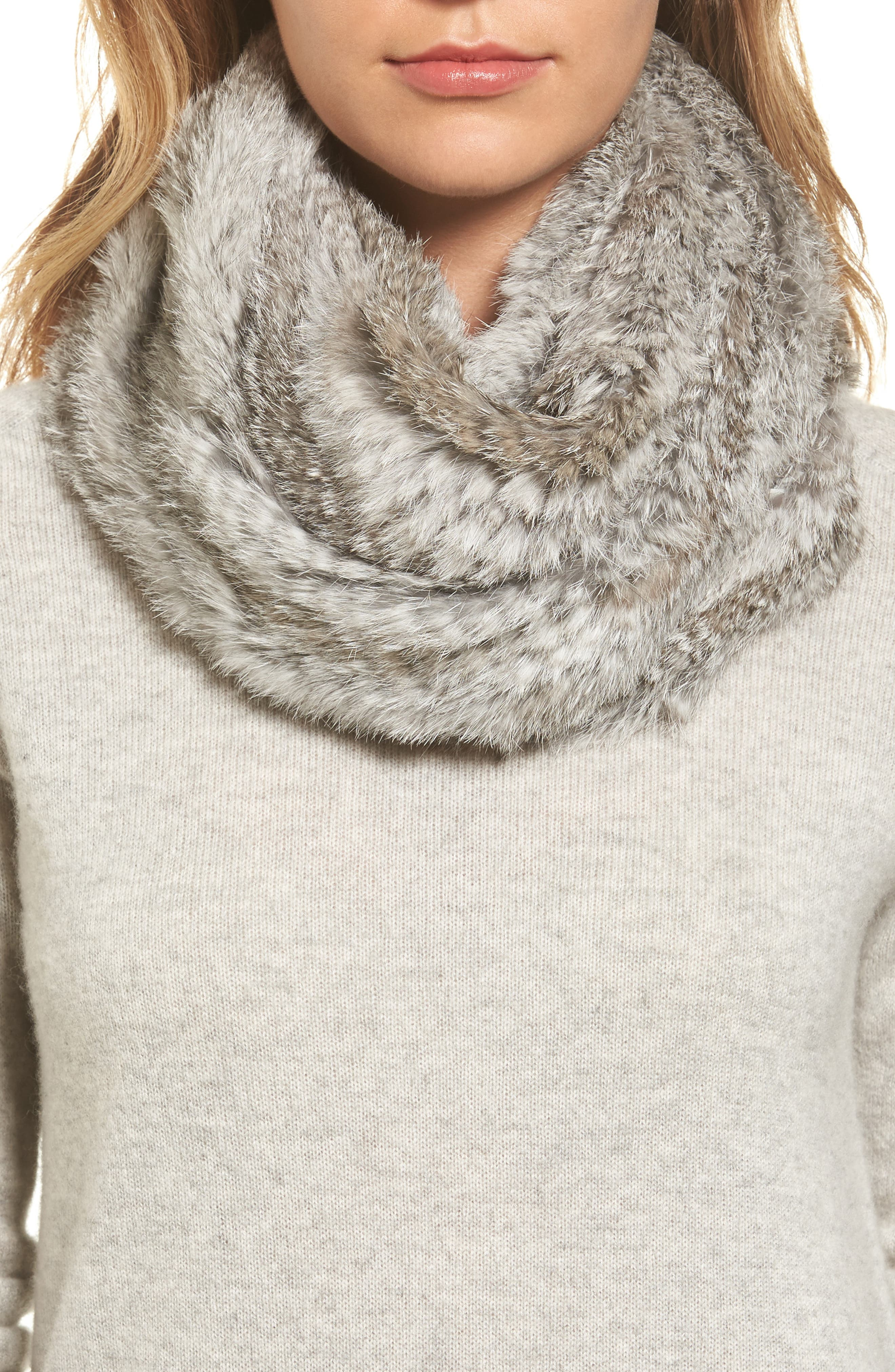 Solid Genuine Rabbit Infinity Scarf,                         Main,                         color, Natural Grey