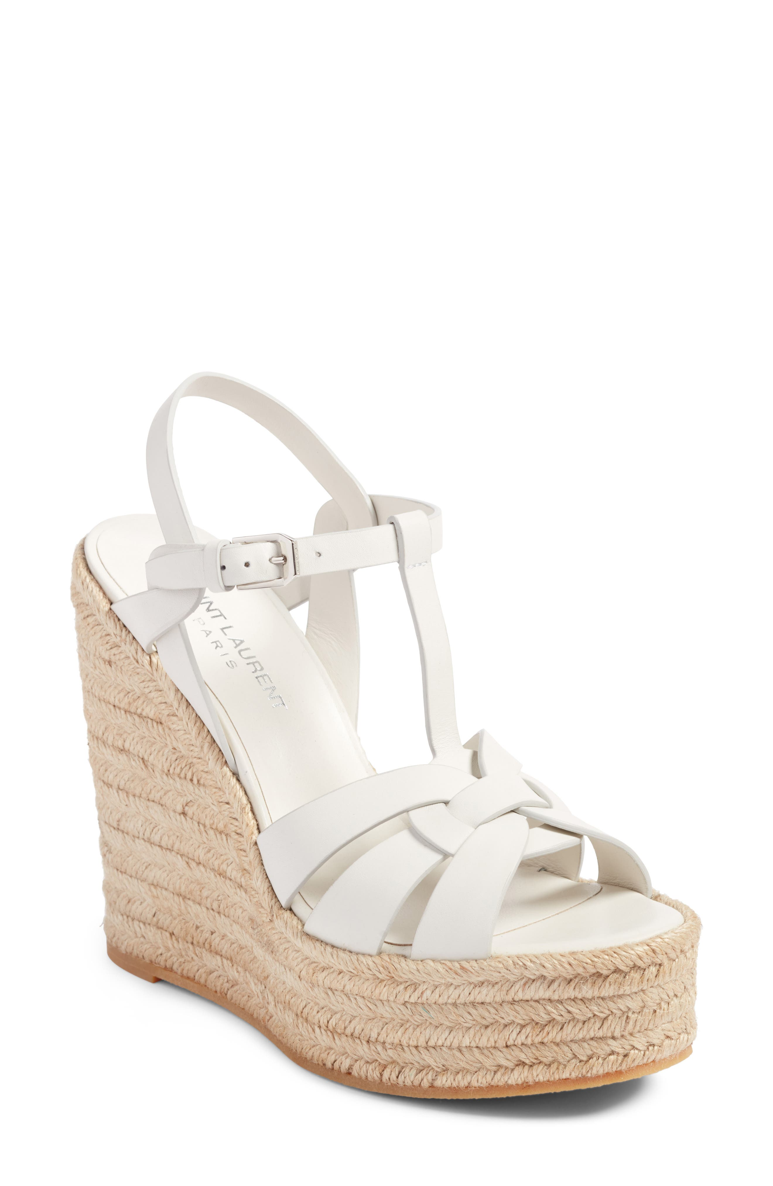 Tribute Espadrille Wedge,                             Main thumbnail 1, color,                             White Leather