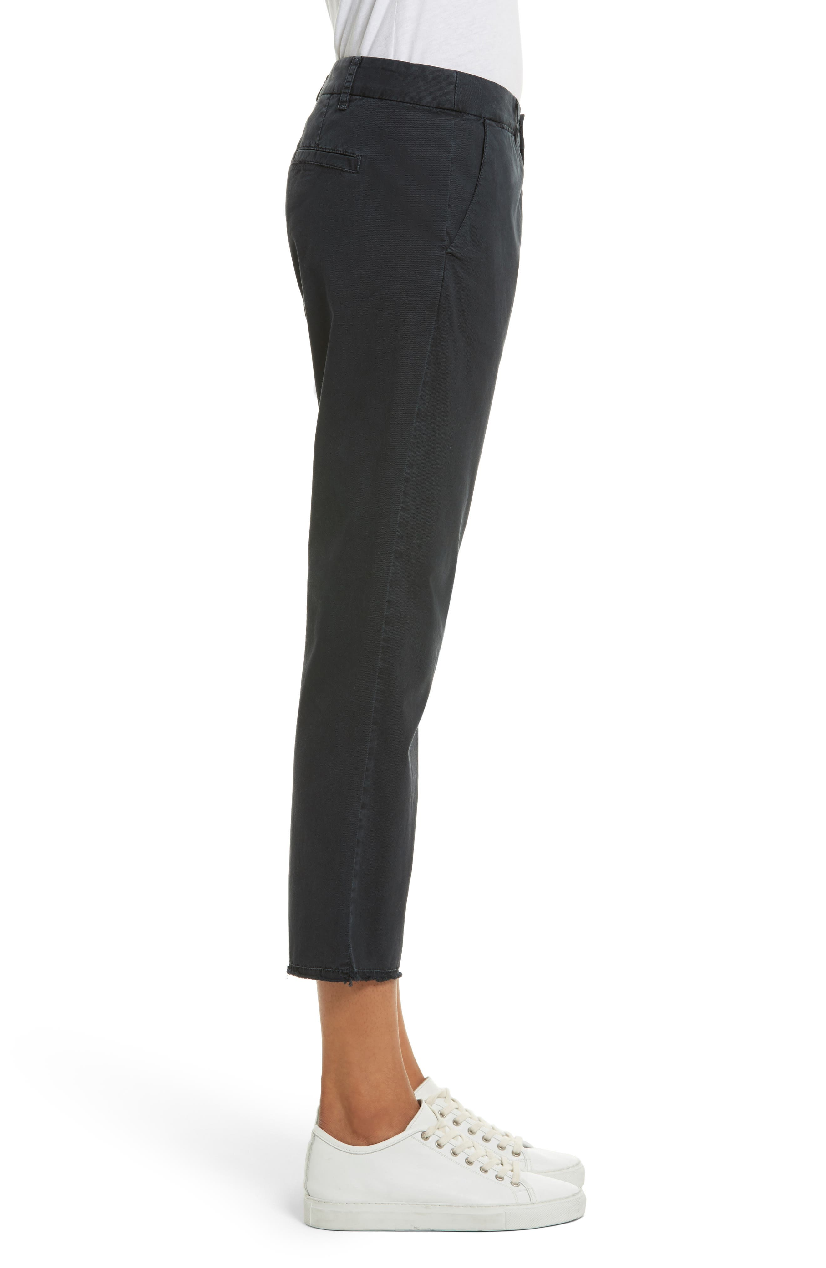 East Hampton Stretch Cotton Twill Crop Pants,                             Alternate thumbnail 3, color,                             Dark Navy