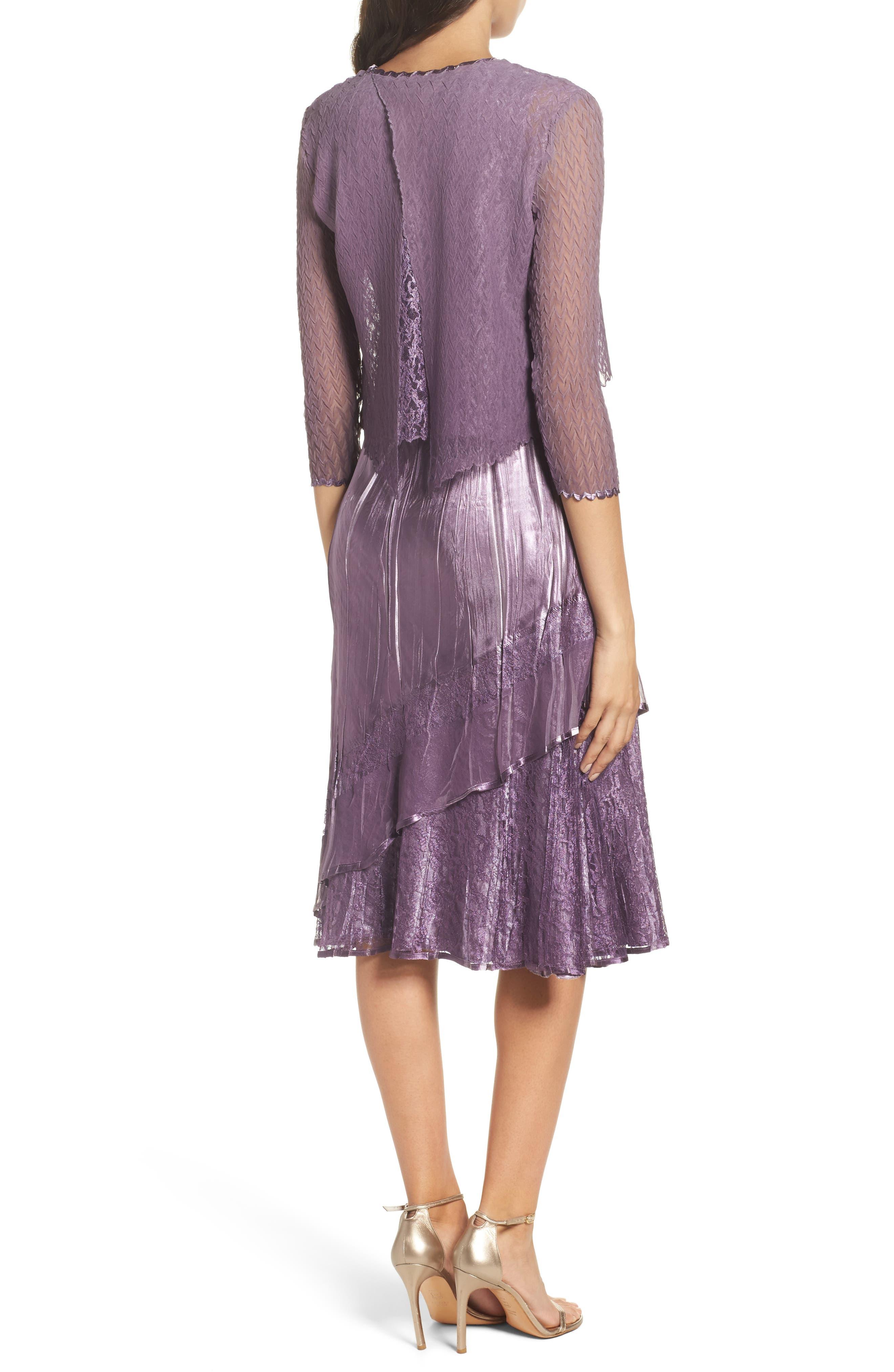 Alternate Image 3  - Komarov Charmeuse A-Line Dress & Chiffon Jacket (Regular & Petite)