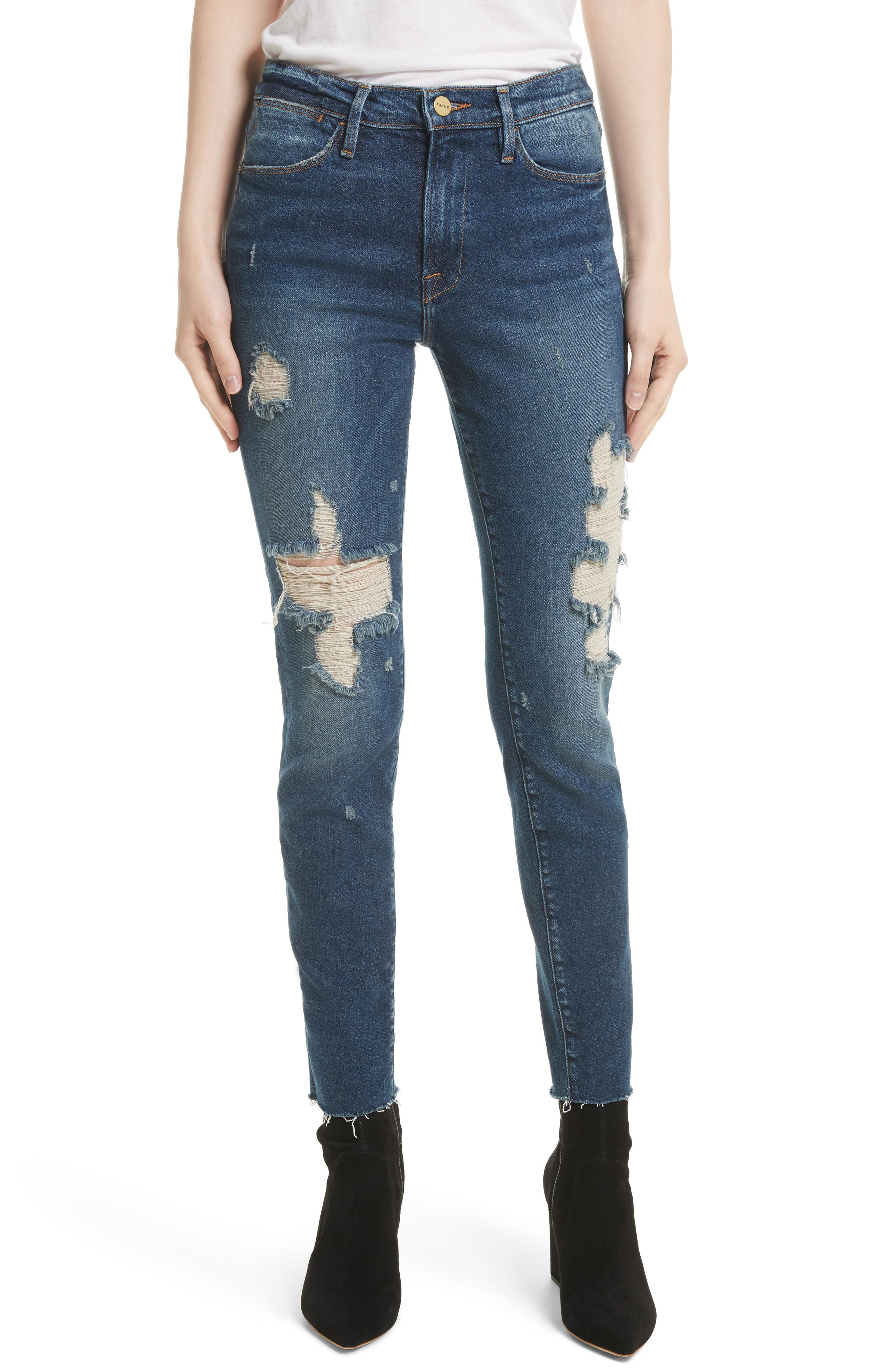 Main Image - FRAME Le High Raw Edge Skinny Jeans (Enford)
