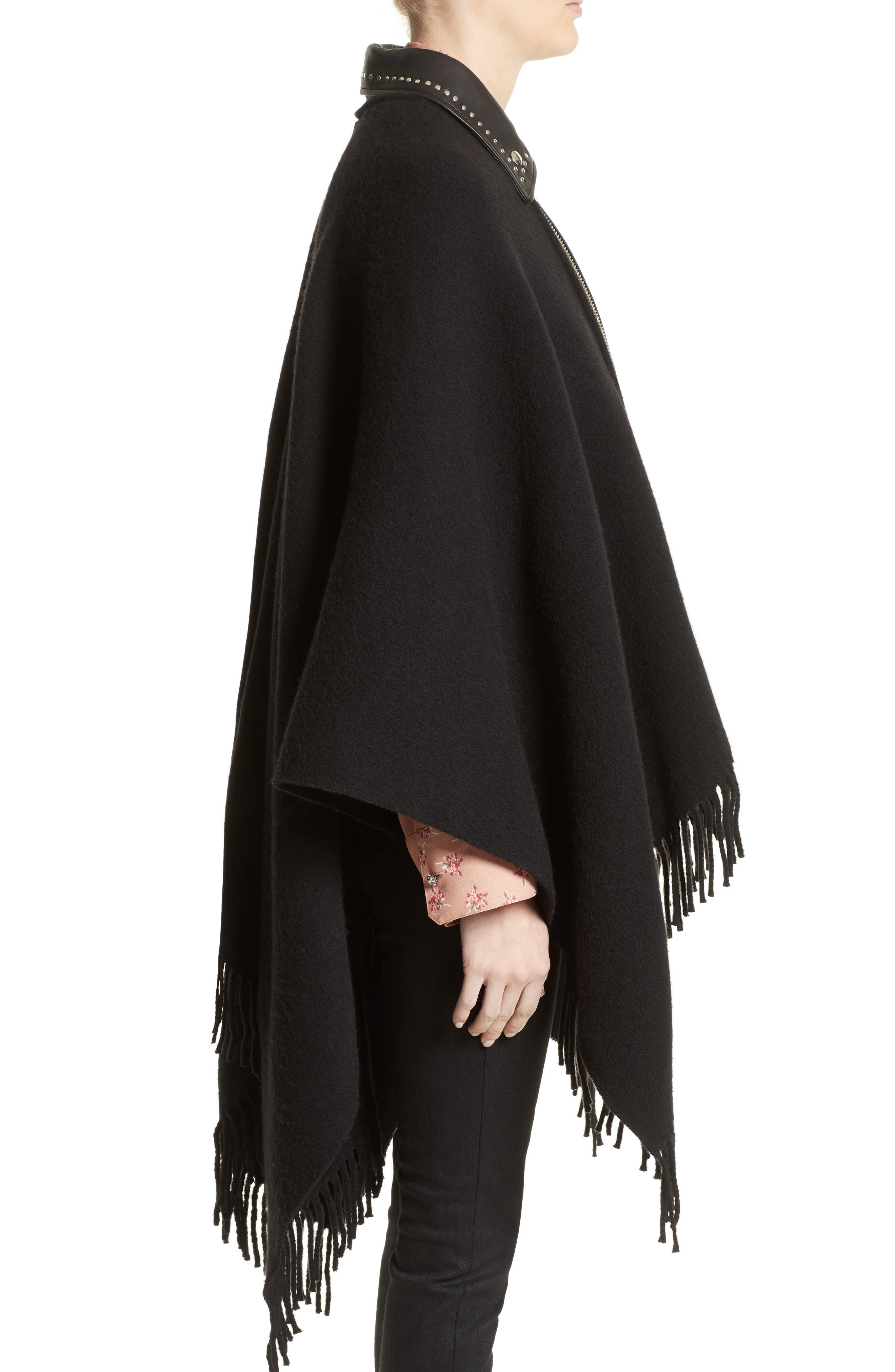Leather Collar Wool Blend Poncho,                             Alternate thumbnail 3, color,                             Black