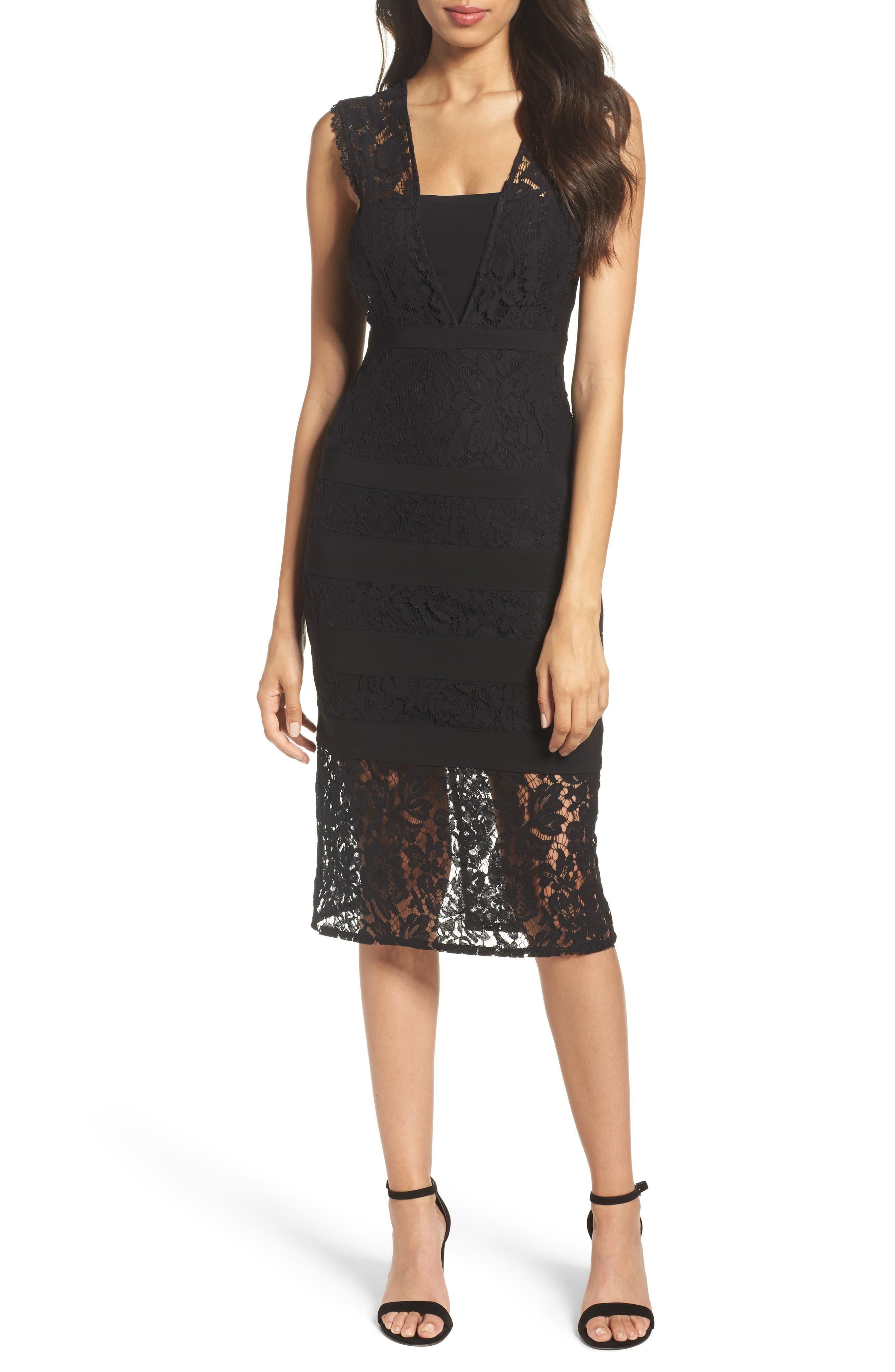 Cynthia Lace Sheath Dress,                         Main,                         color, Black