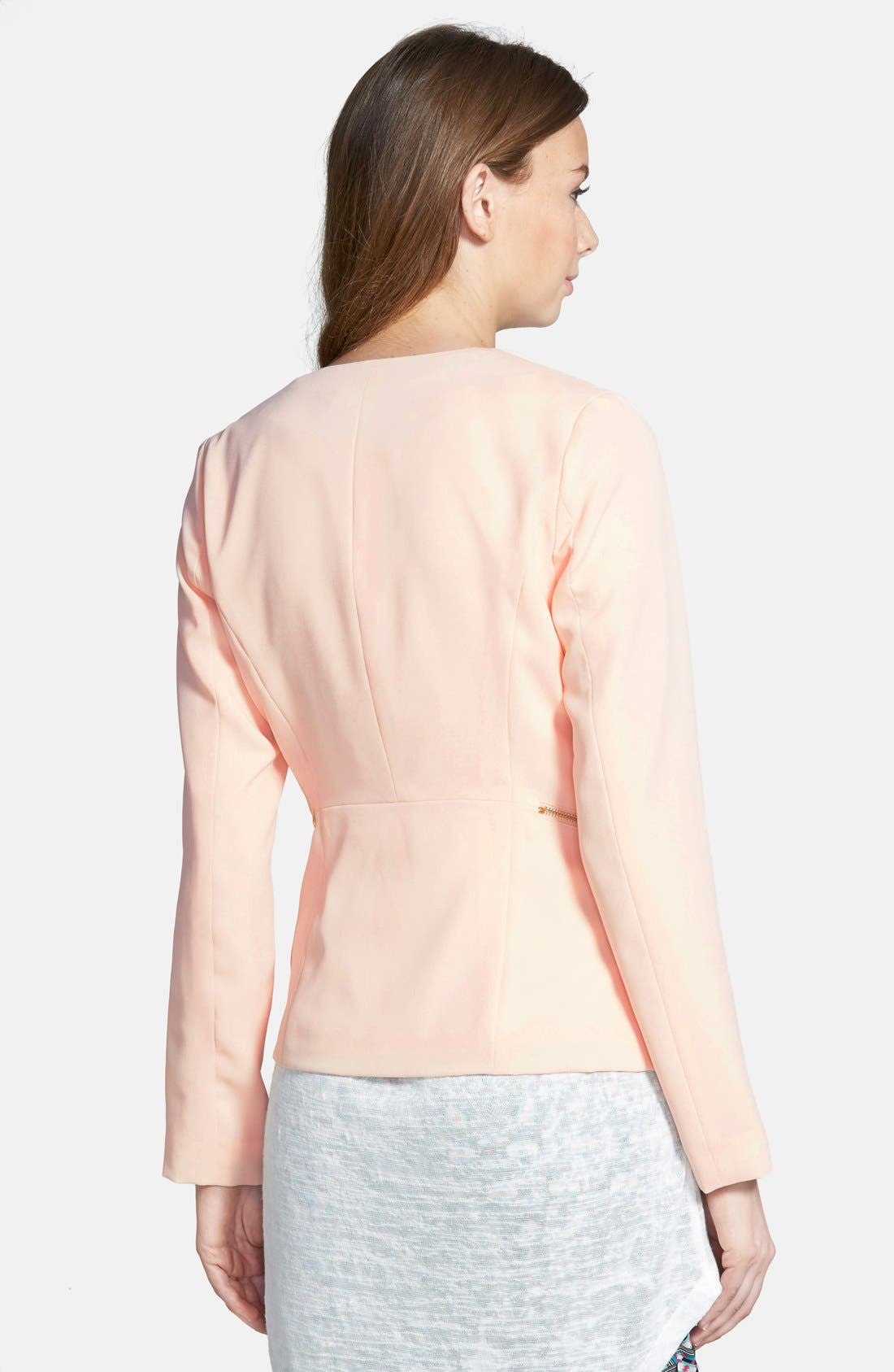 Drapey Zip Blazer,                             Alternate thumbnail 2, color,                             Blush