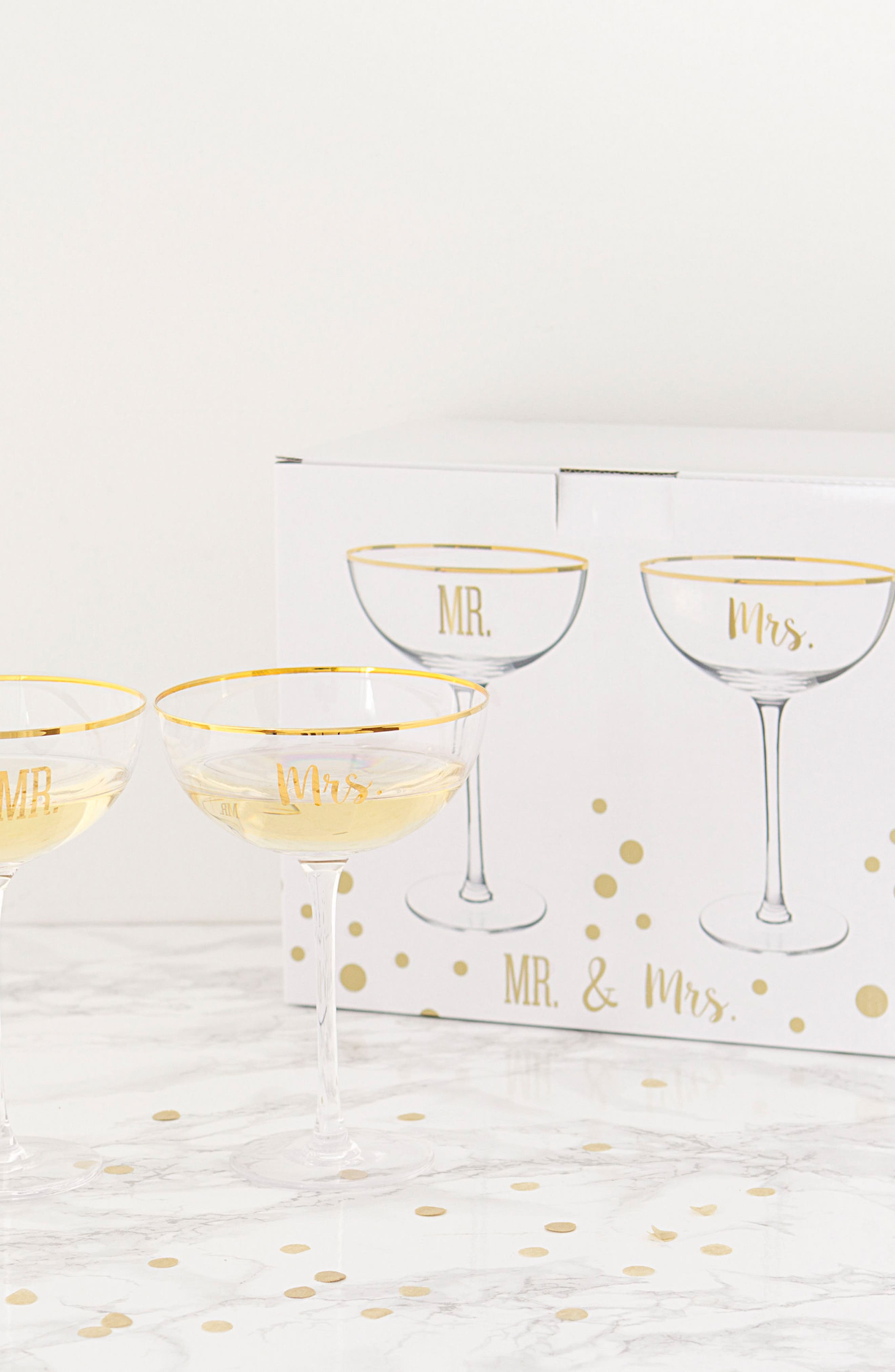 Mr. & Mrs. Set of 2 Champagne Coupe Toasting Glasses,                             Alternate thumbnail 8, color,                             Gold