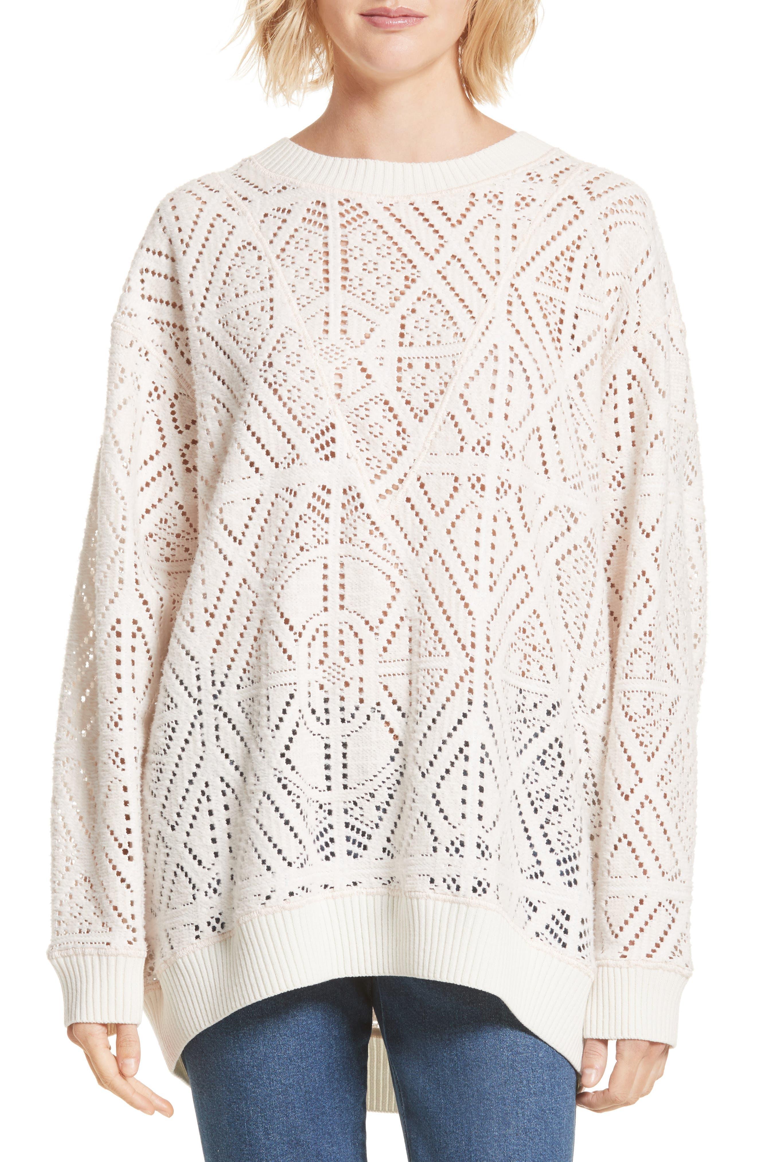 Lace Knit Sweater,                             Main thumbnail 1, color,                             Milk