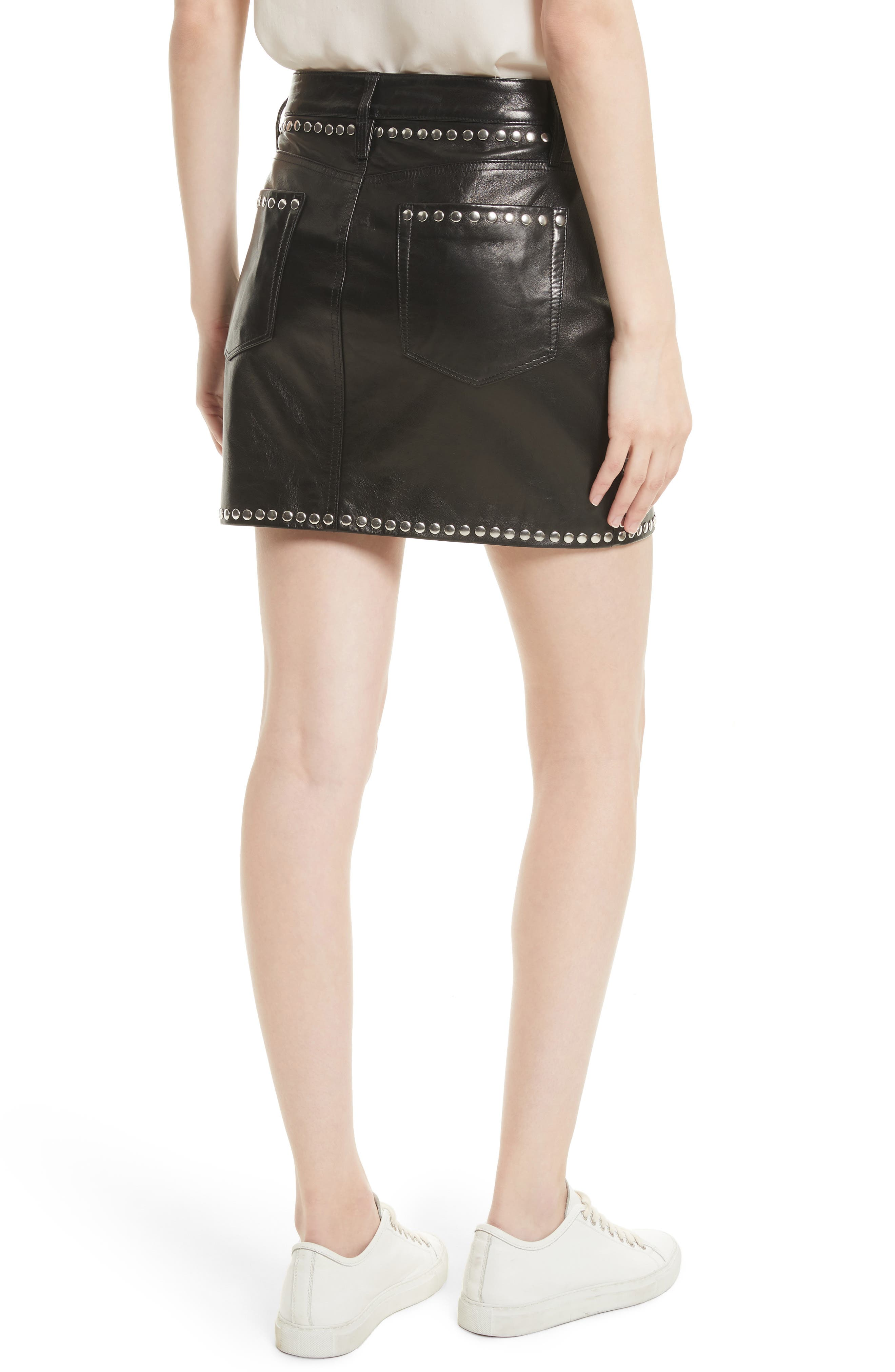Alternate Image 3  - FRAME Studded Leather Miniskirt