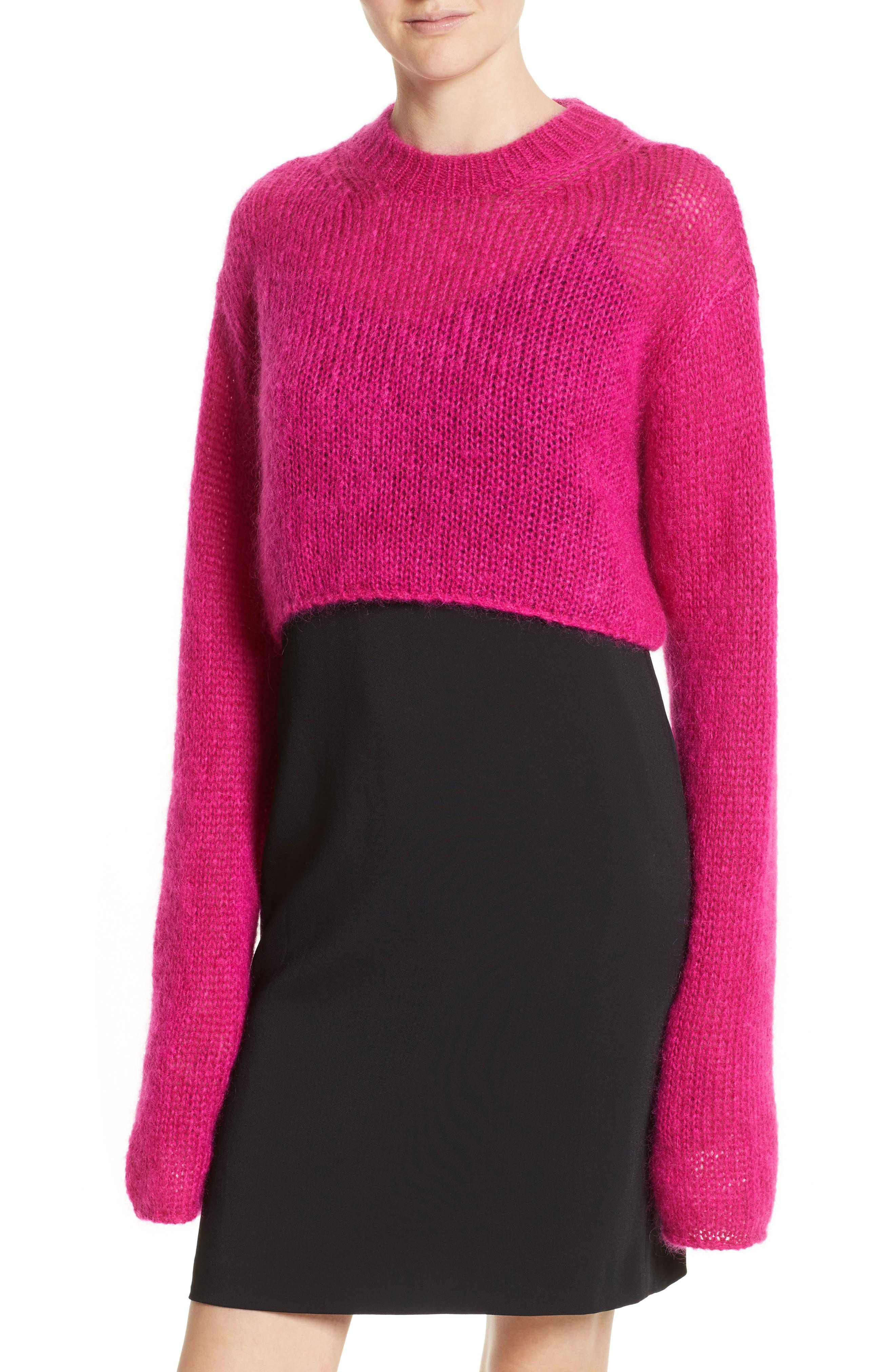 McQ by Alexander McQueen Mohair Blend Crop Sweater