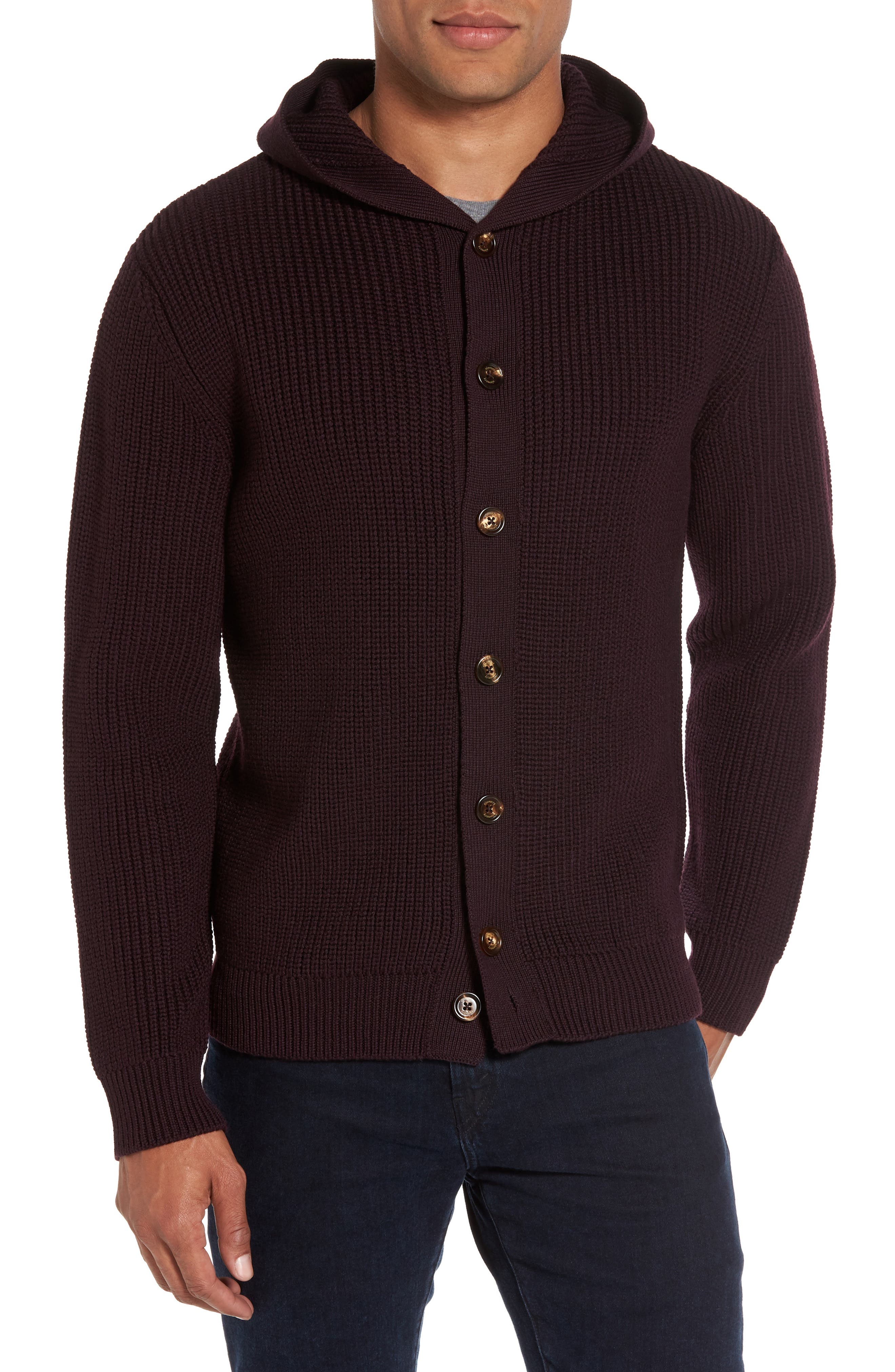 Ribbed Hooded Sweater,                         Main,                         color, Wine