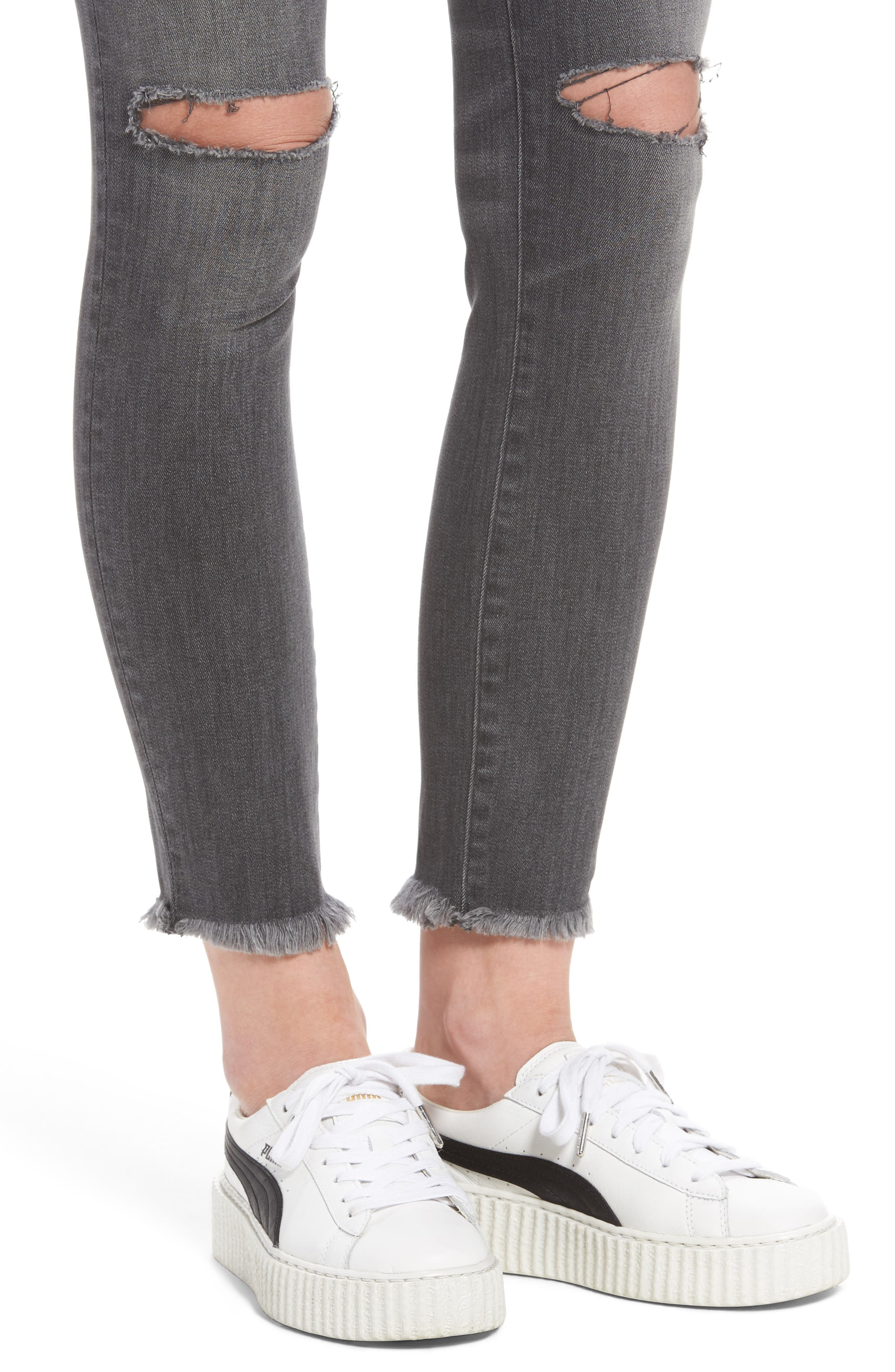 Margaux Ripped Ankle Skinny Jeans,                             Alternate thumbnail 4, color,                             Quaker