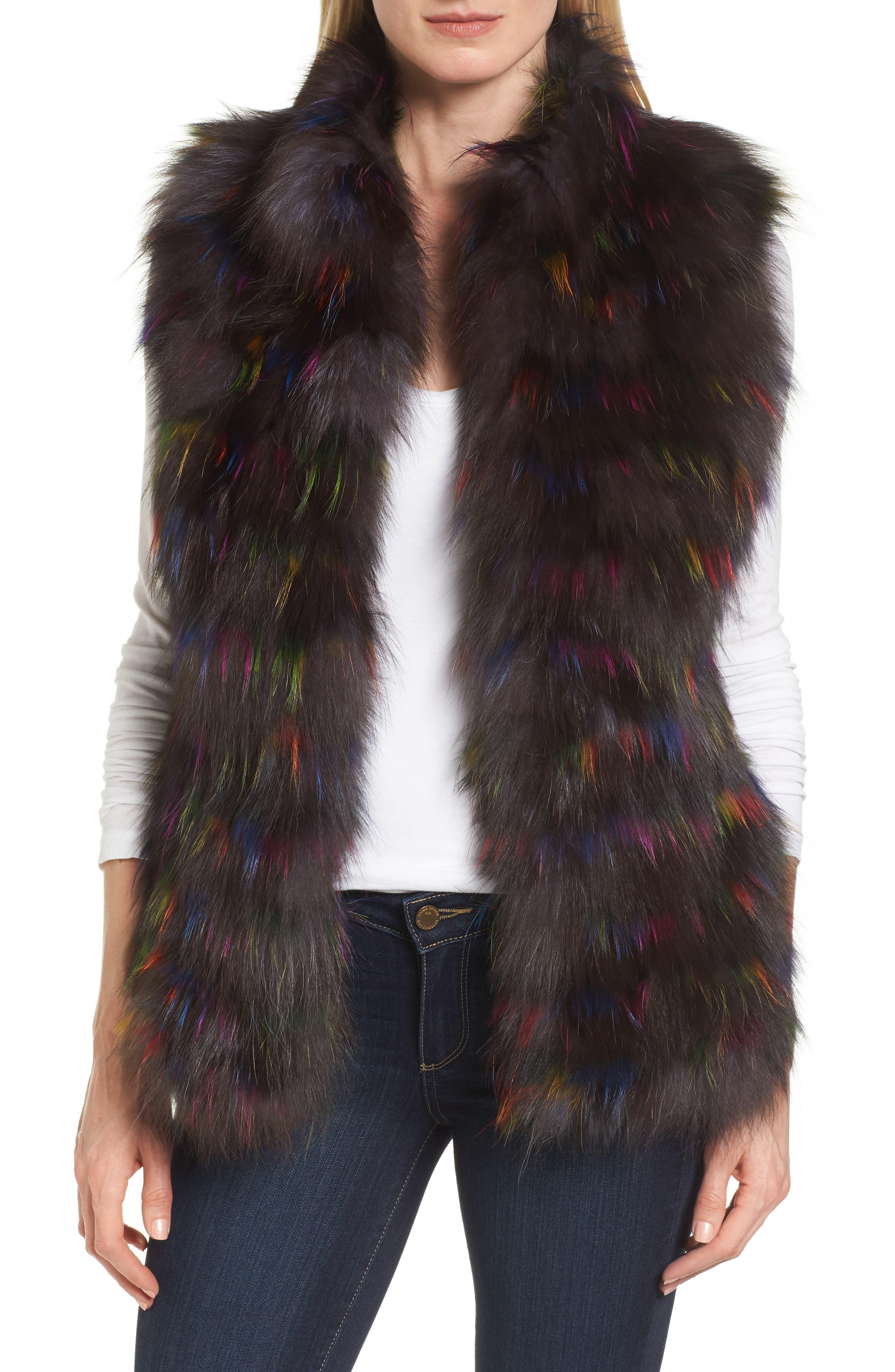 Genuine Fox Fur Vest,                         Main,                         color, Multi