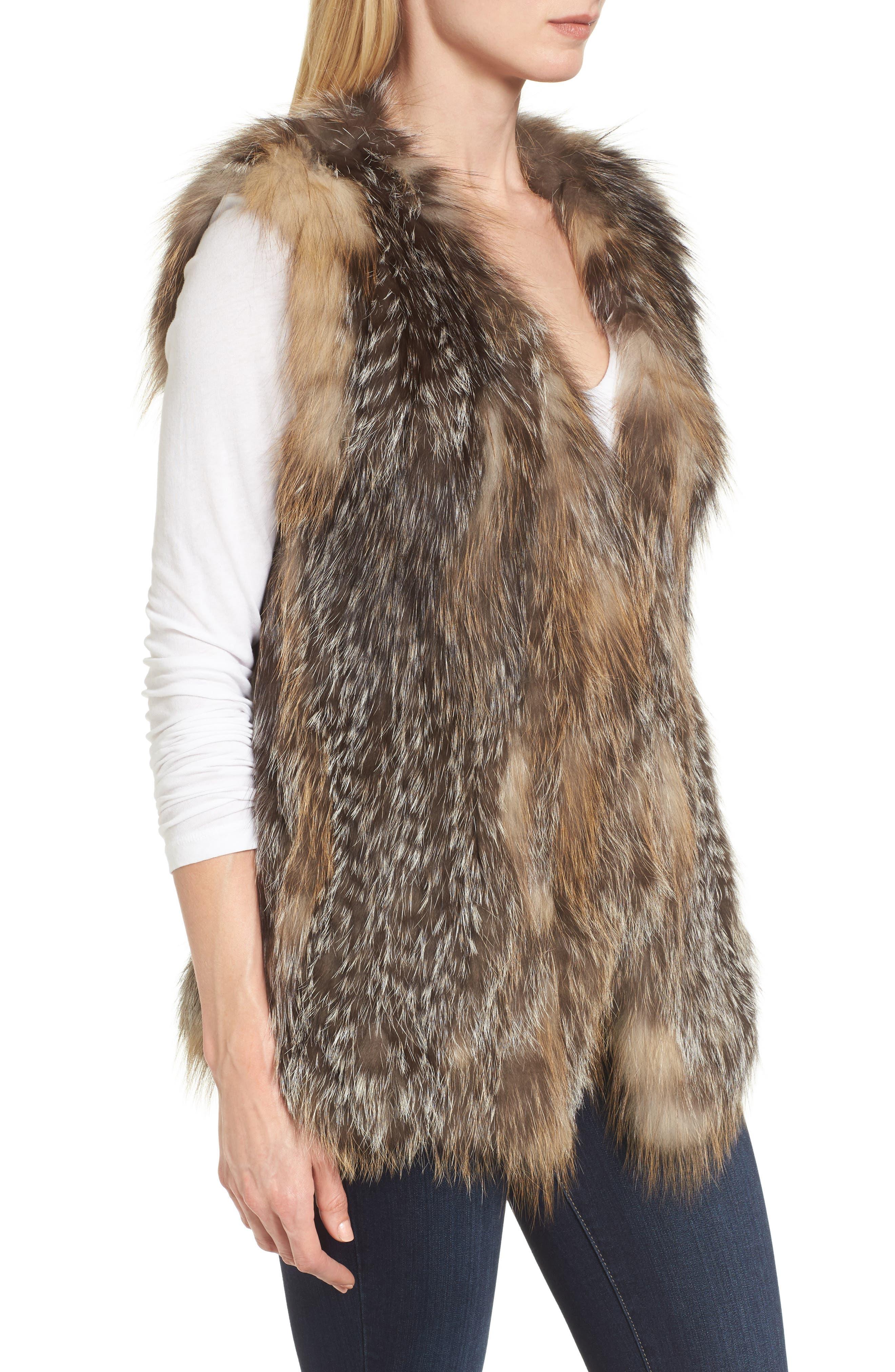Genuine Fox Fur Vest,                             Alternate thumbnail 3, color,                             Natural Gold
