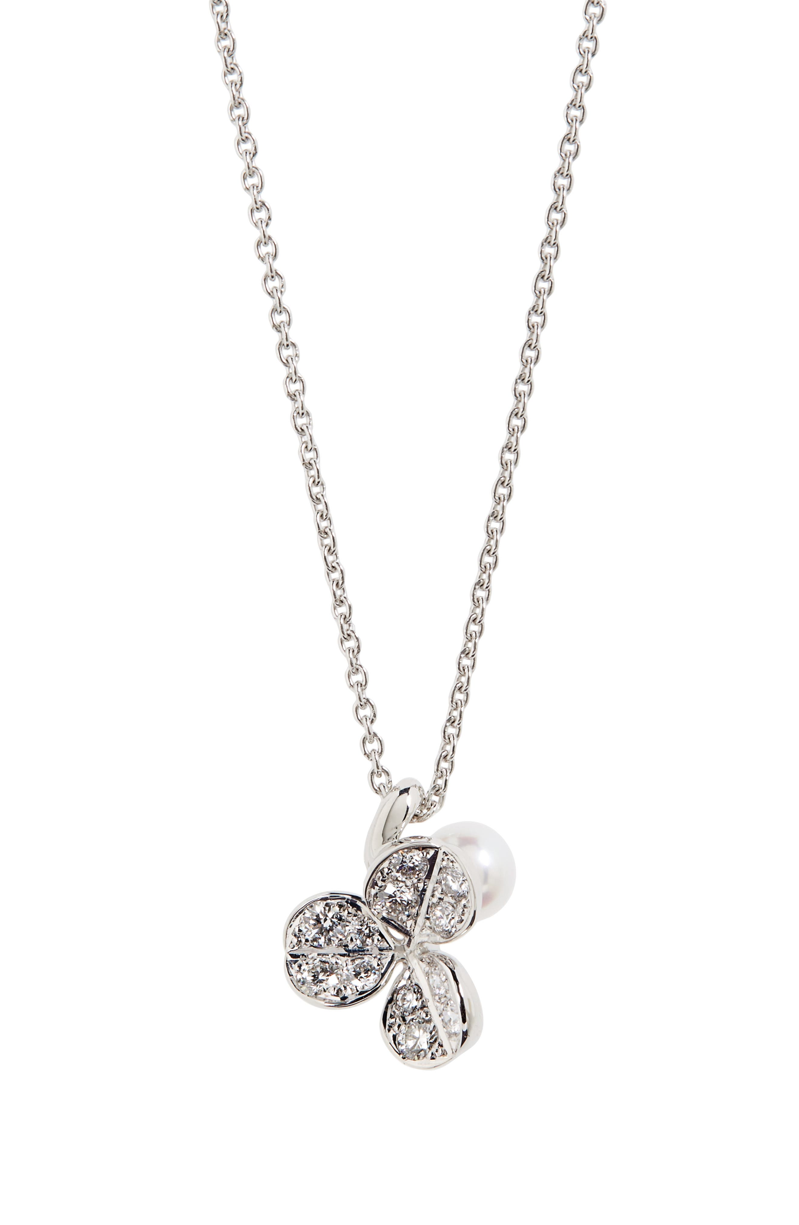 Fortune Leaves Pearl & Diamond Pendant Necklace,                         Main,                         color, White Gold