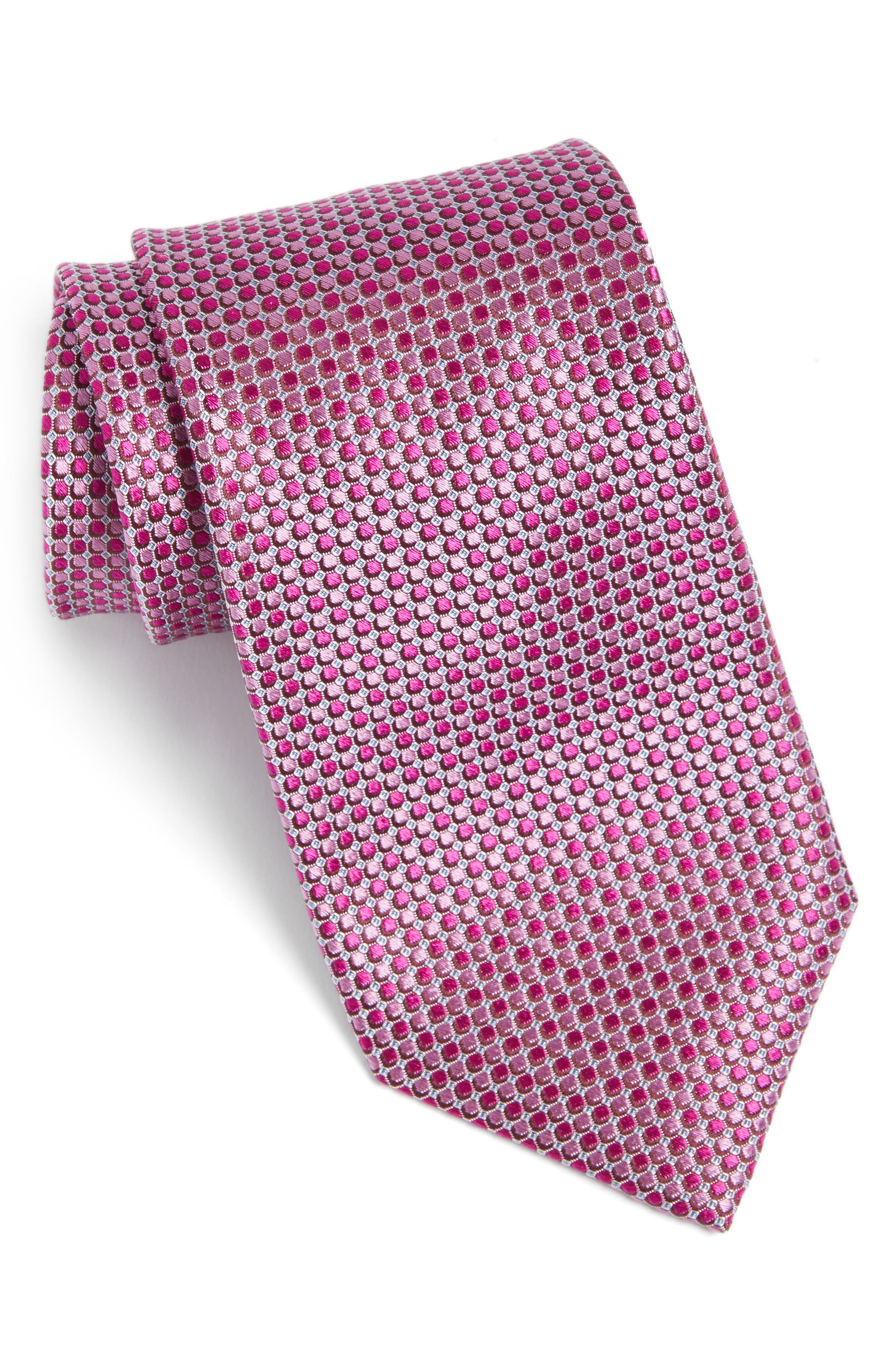 Alghero Micro Silk Tie,                         Main,                         color, Magenta