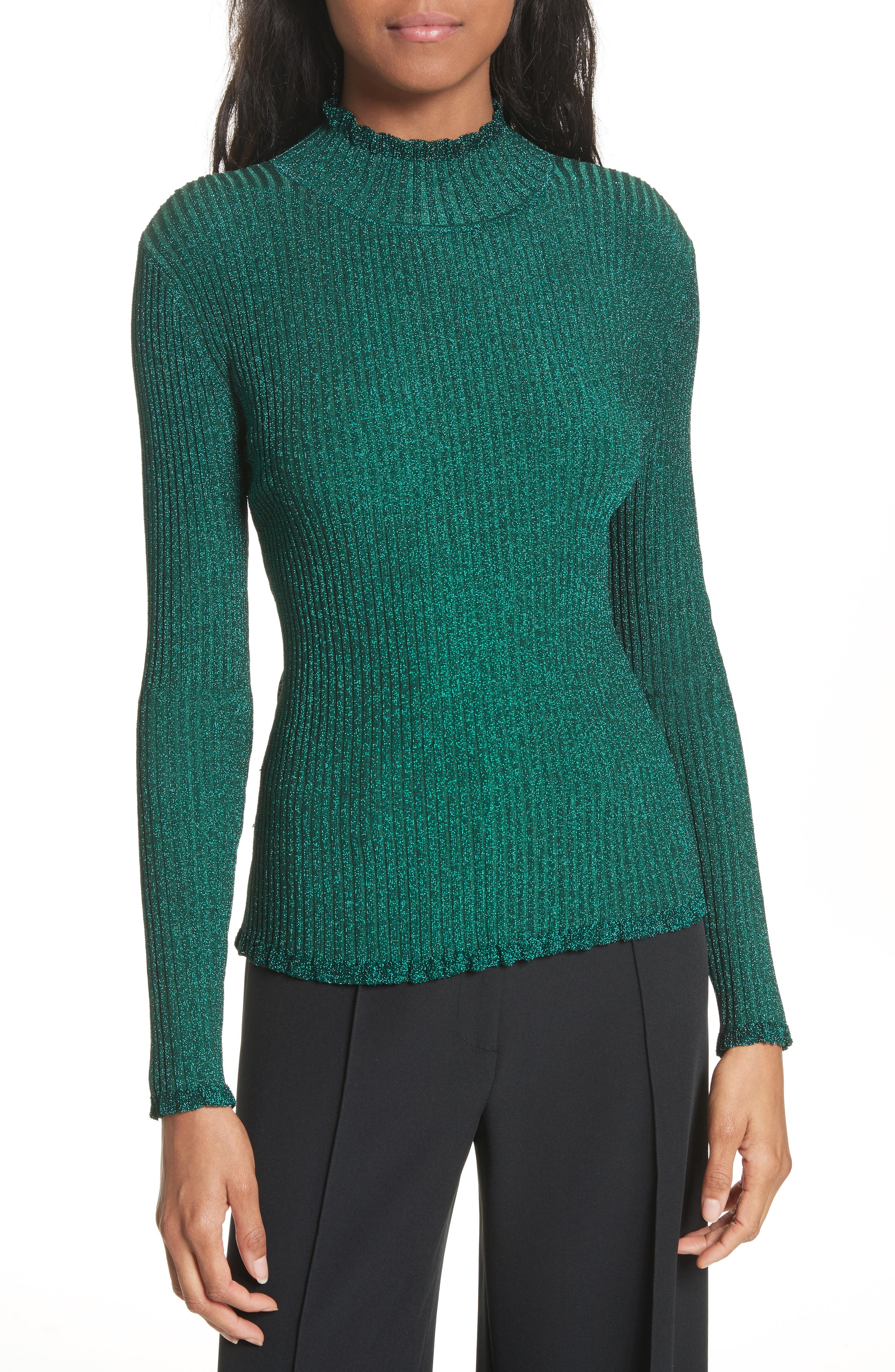 Main Image - Milly Italian Stardust Ribbed Turtleneck