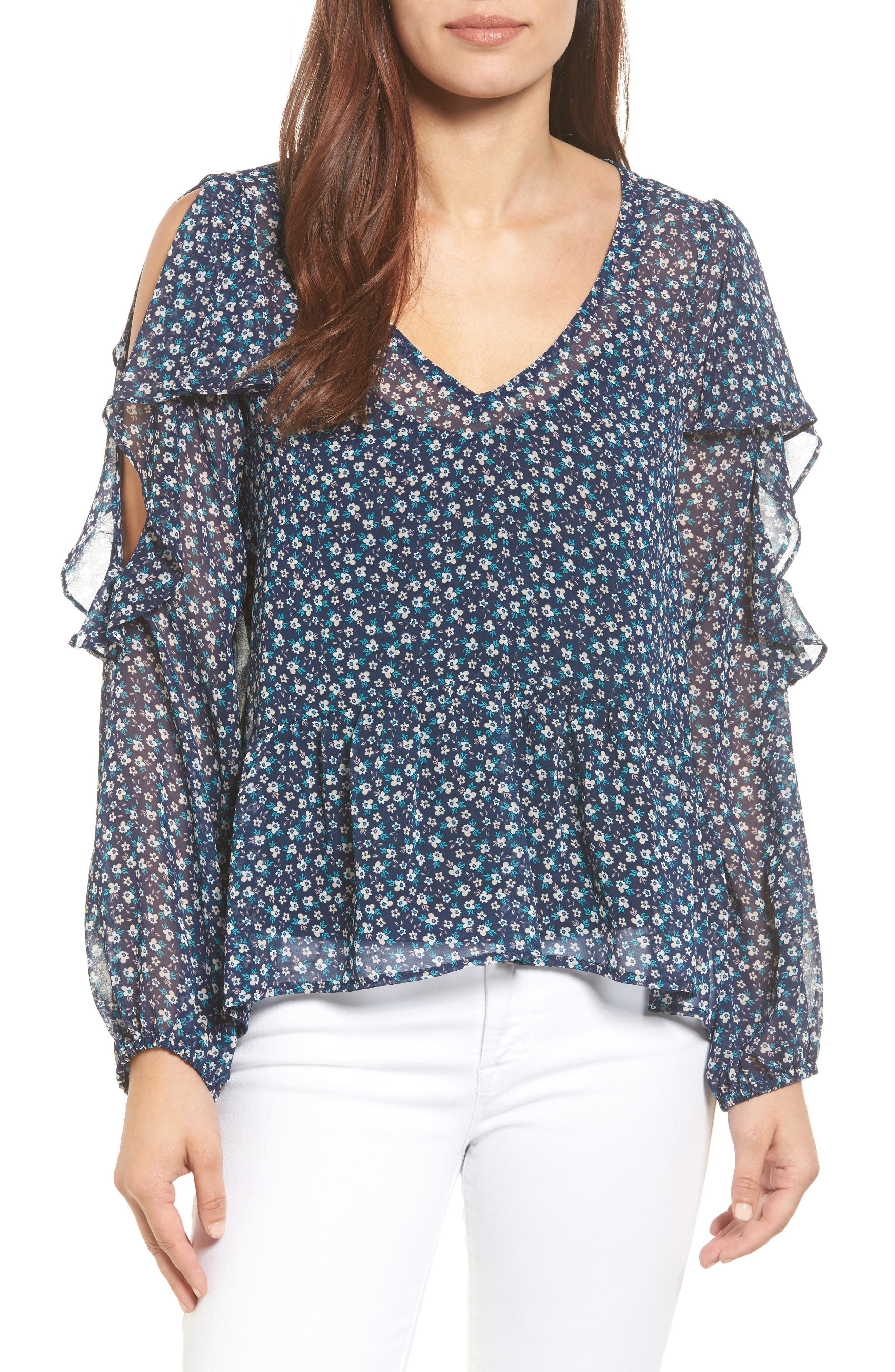HALOGEN<SUP>®</SUP> Ruffle Cold Shoulder Top