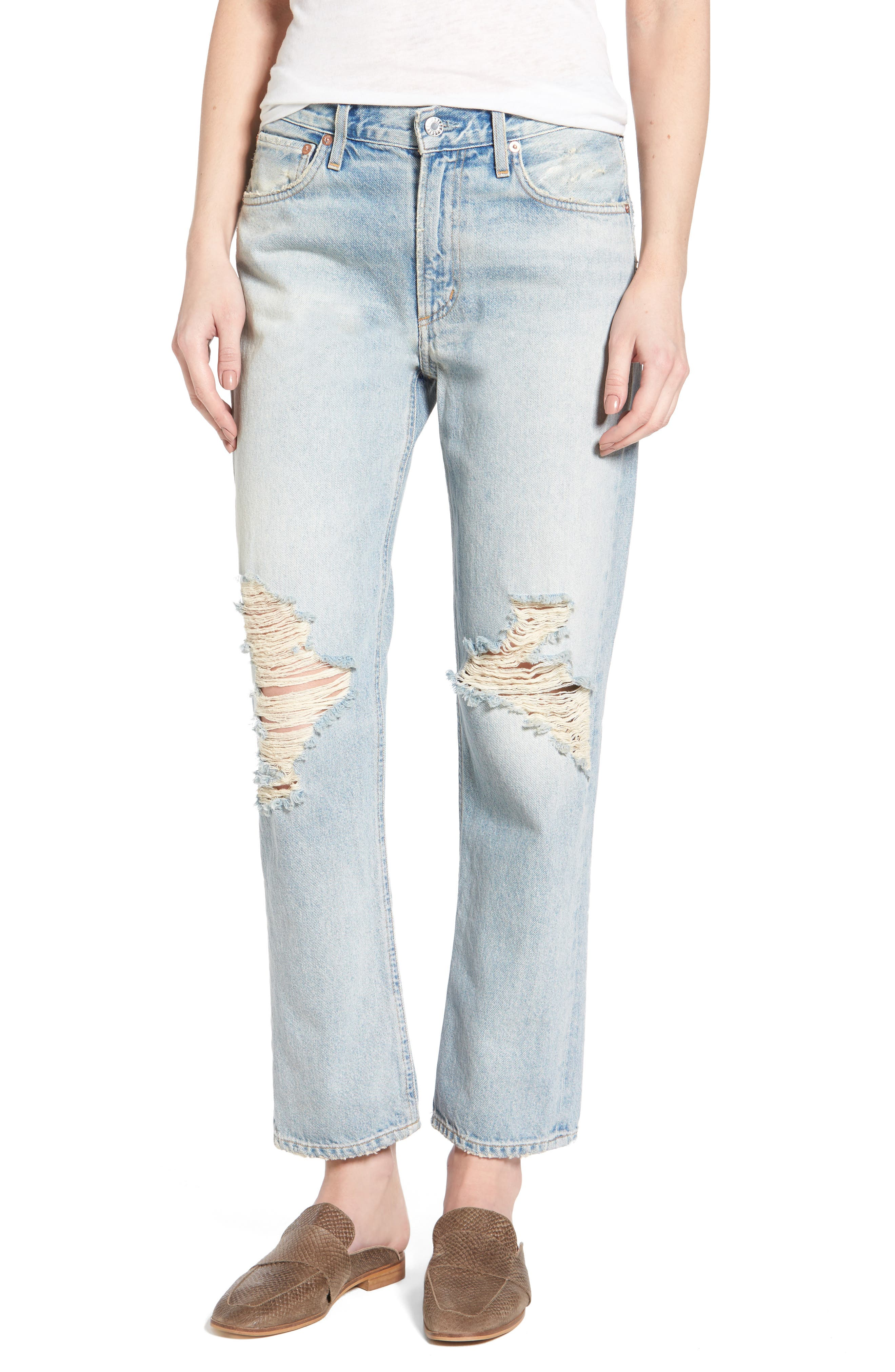Alternate Image 1 Selected - AGOLDE Ripped High Waist Straight Leg Jeans (Runaway)