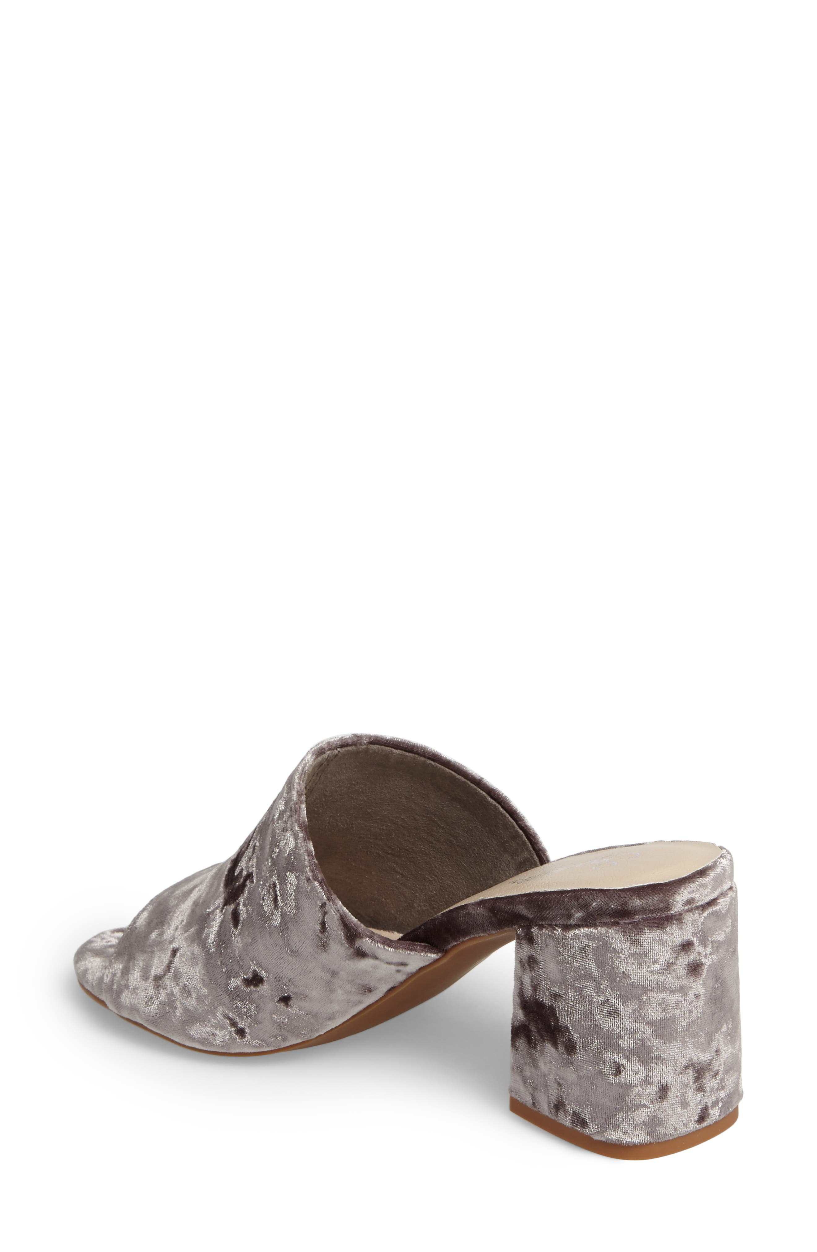Commute Flared Heel Slide Sandal,                             Alternate thumbnail 2, color,                             Grey Velvet Fabric