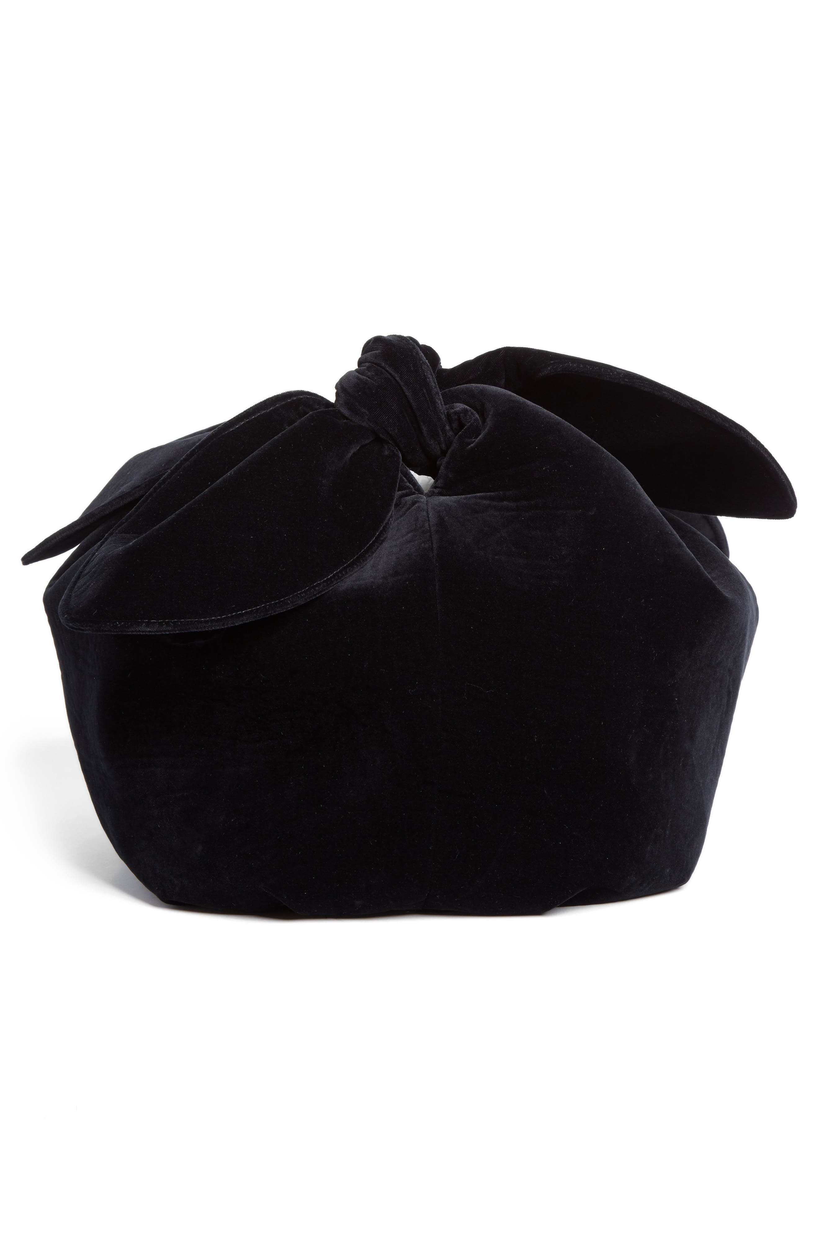 Velvet Double Bow Clutch,                             Alternate thumbnail 5, color,                             Black