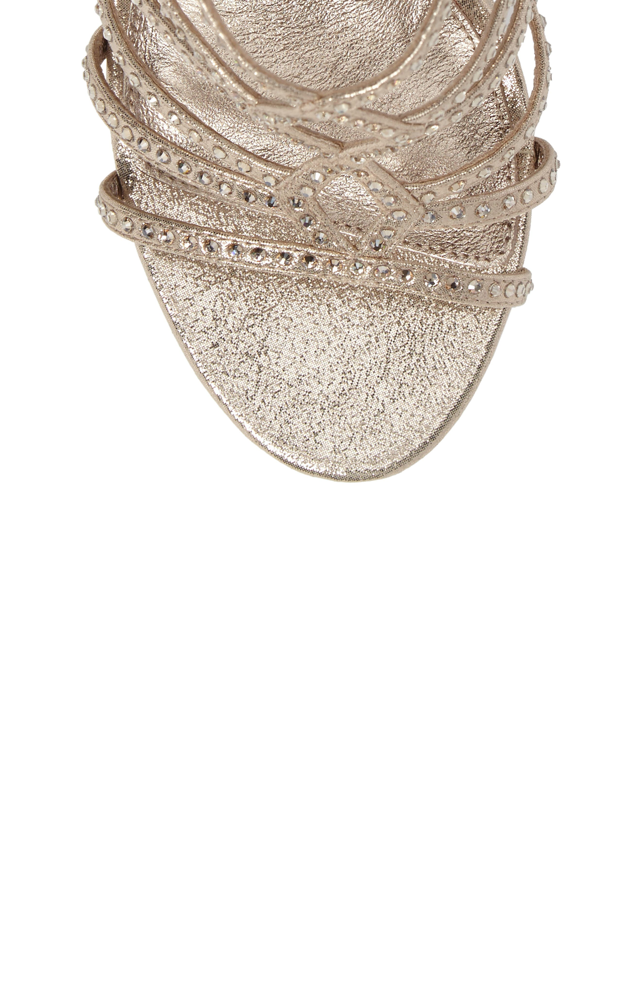 Miranda Embellished Platform Sandal,                             Alternate thumbnail 5, color,                             Gold Metallic Fabric