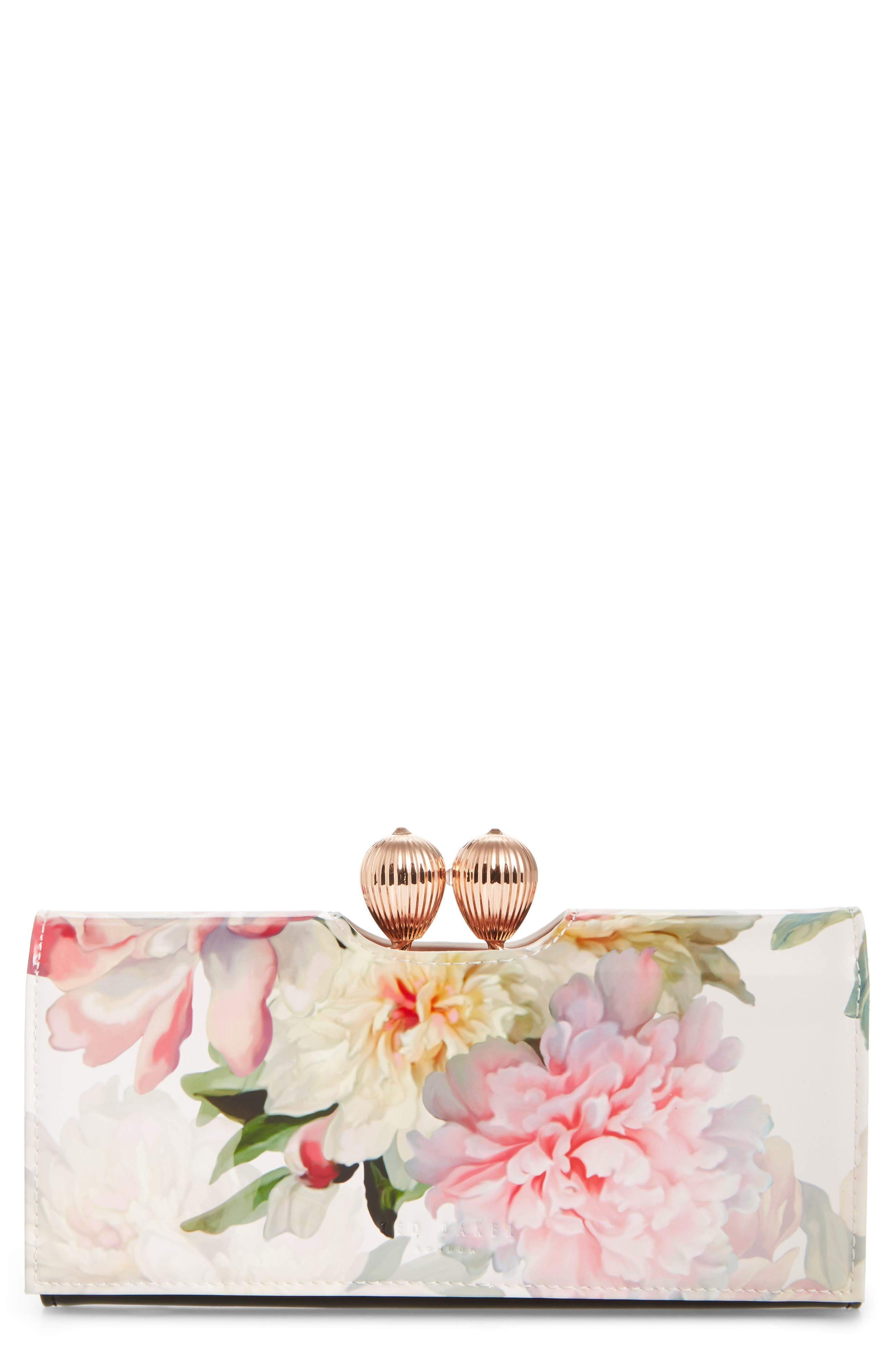 Painted Posie Leather Matinée Wallet,                         Main,                         color, Baby Pink
