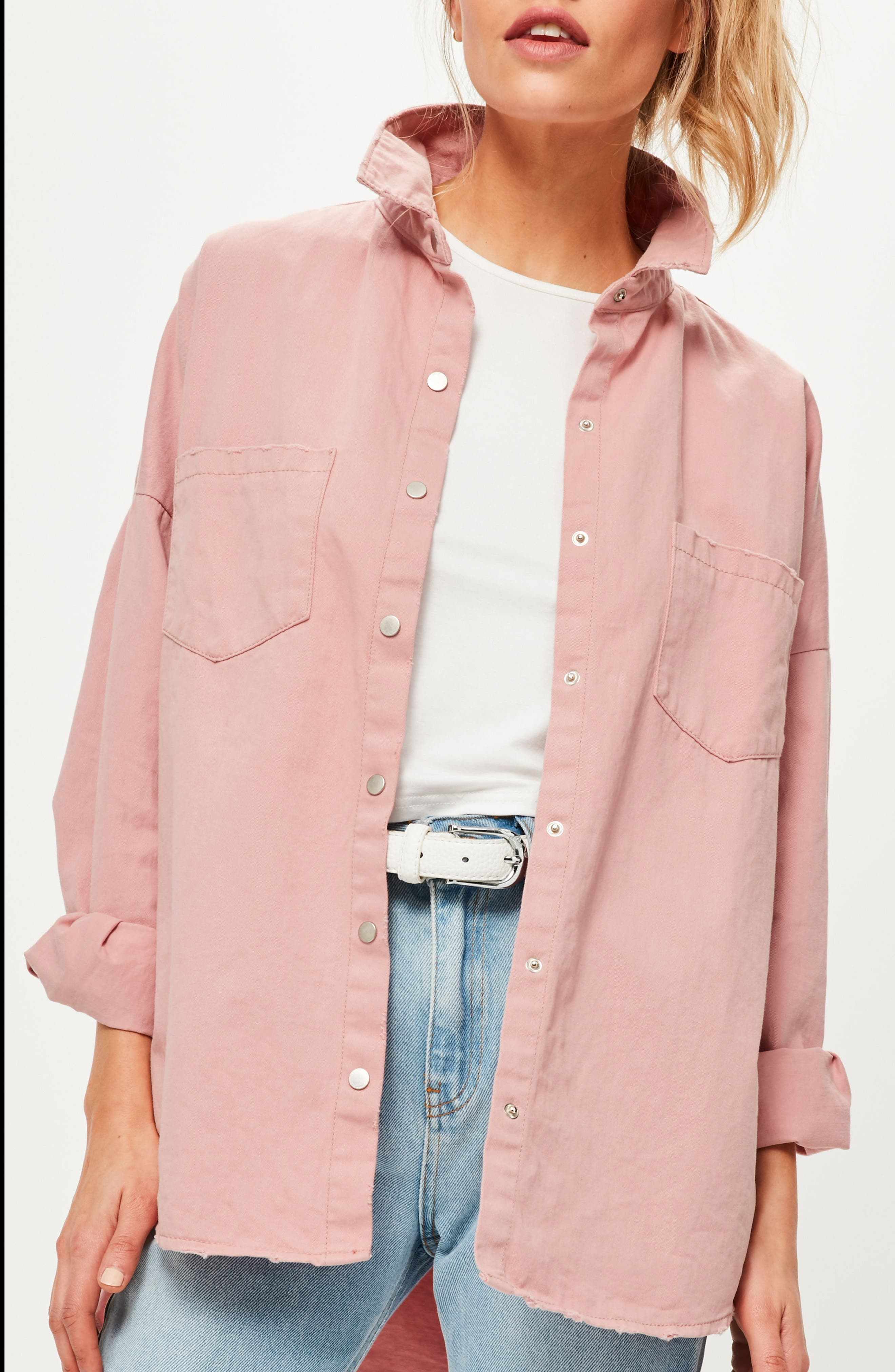 Back Graphic Oversize Denim Shirt,                             Alternate thumbnail 3, color,                             Pink